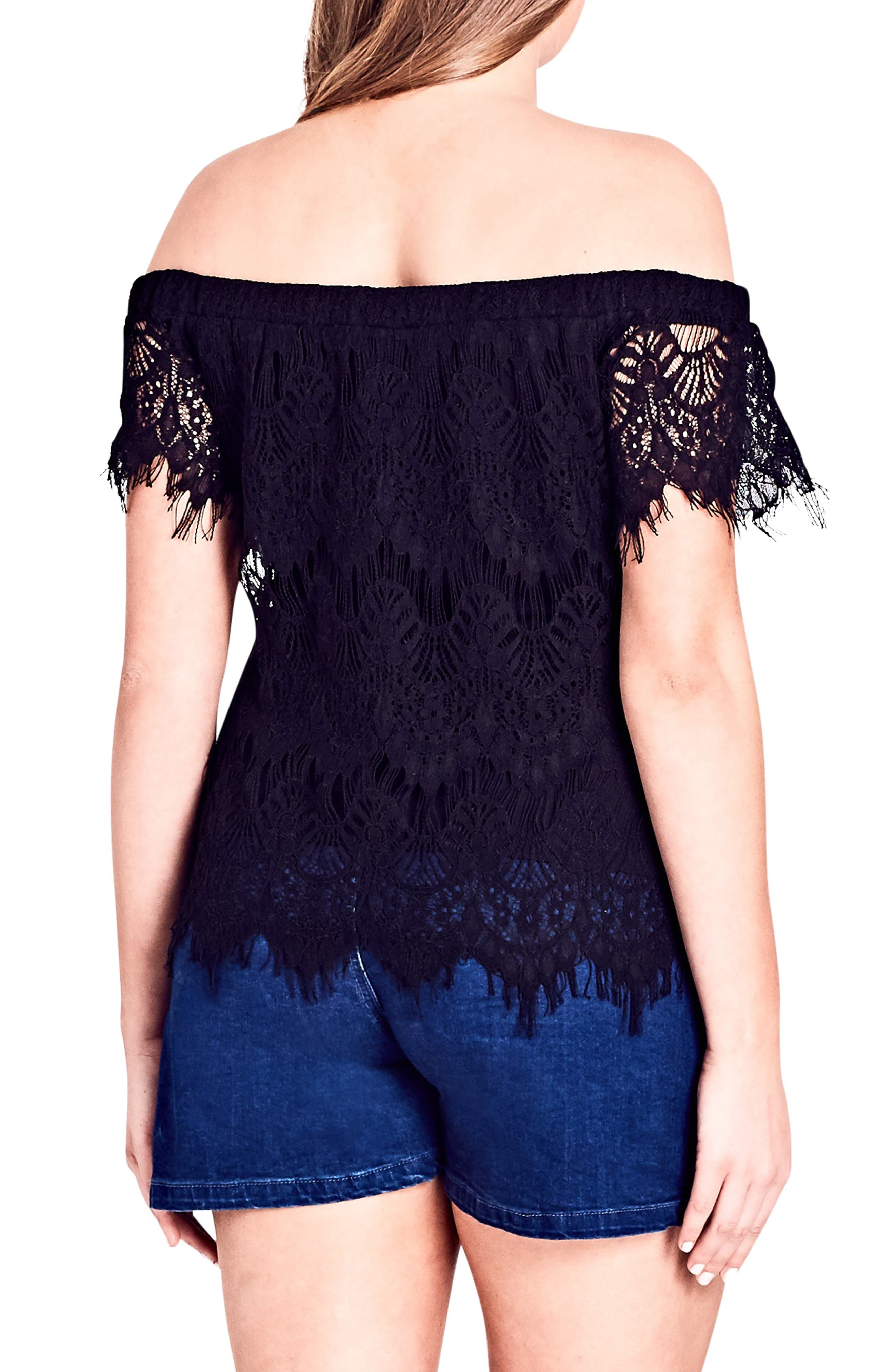 CITY CHIC,                             Lacy Off the Shoulder Top,                             Alternate thumbnail 2, color,                             001