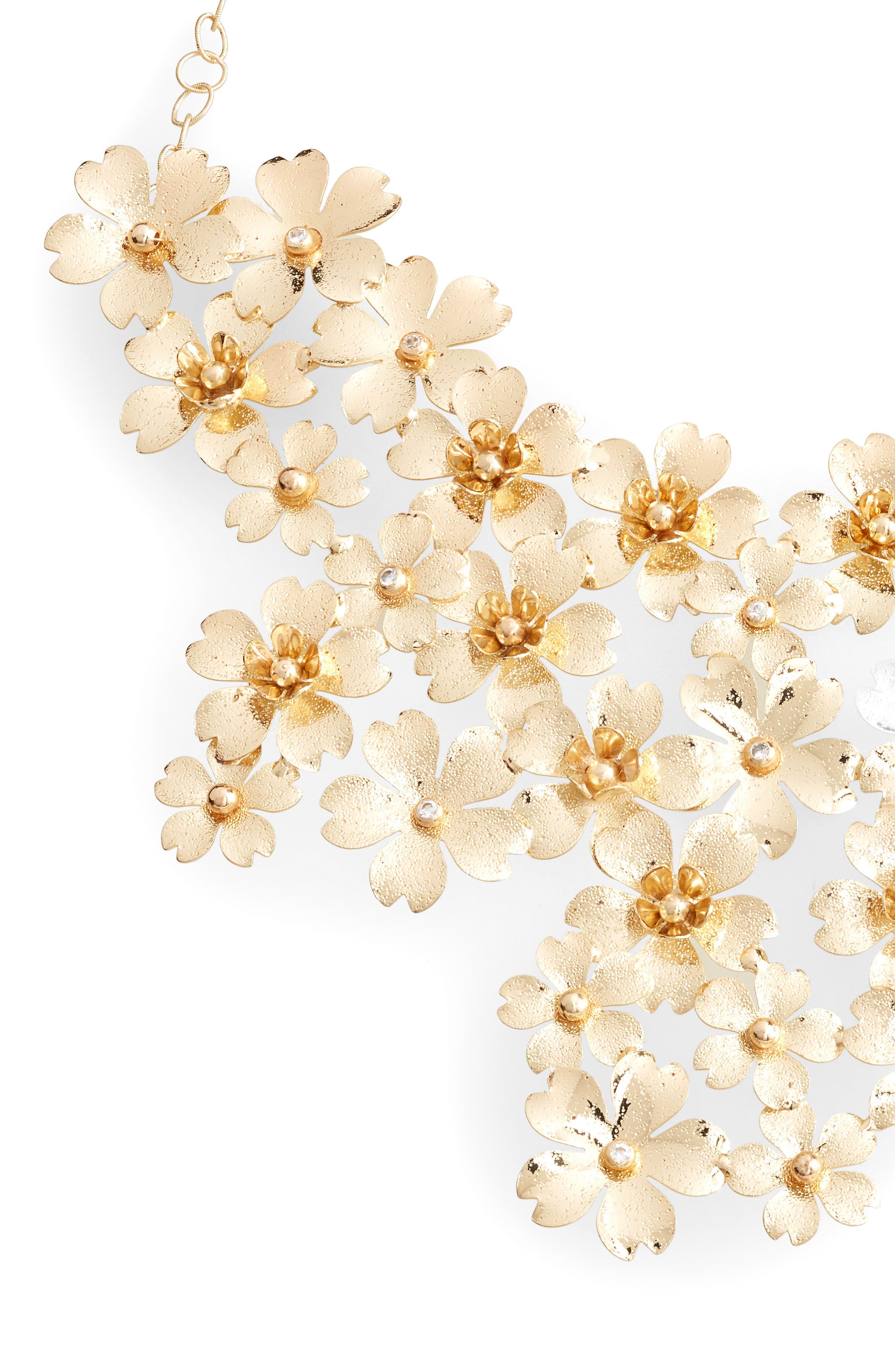 SEREFINA Cherry Blossom Statement Necklace in Gold