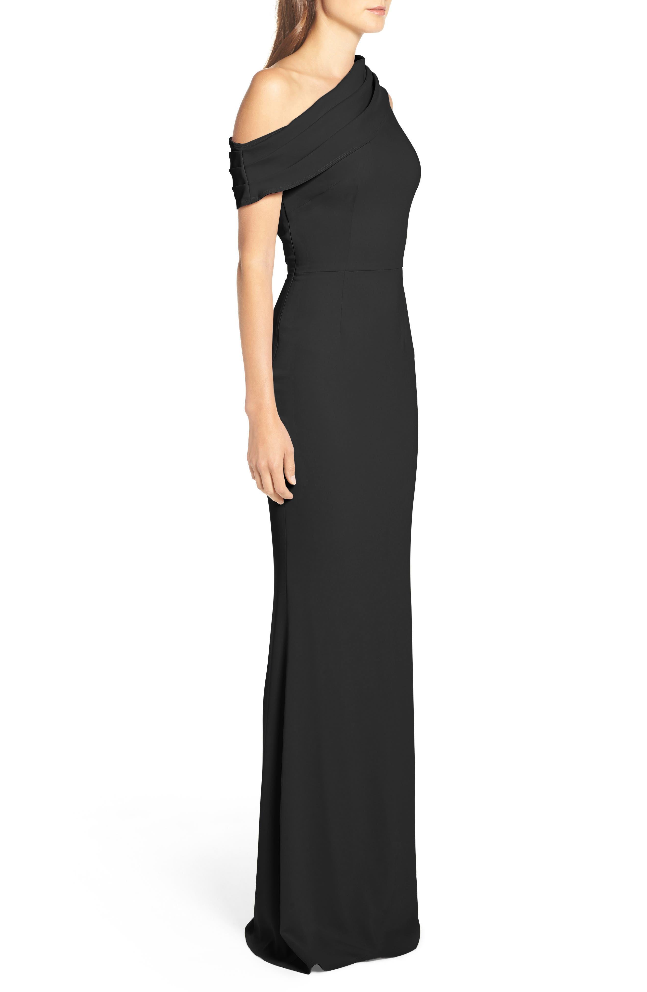 Layla Pleat One-Shoulder Crepe Gown,                             Alternate thumbnail 3, color,                             BLACK