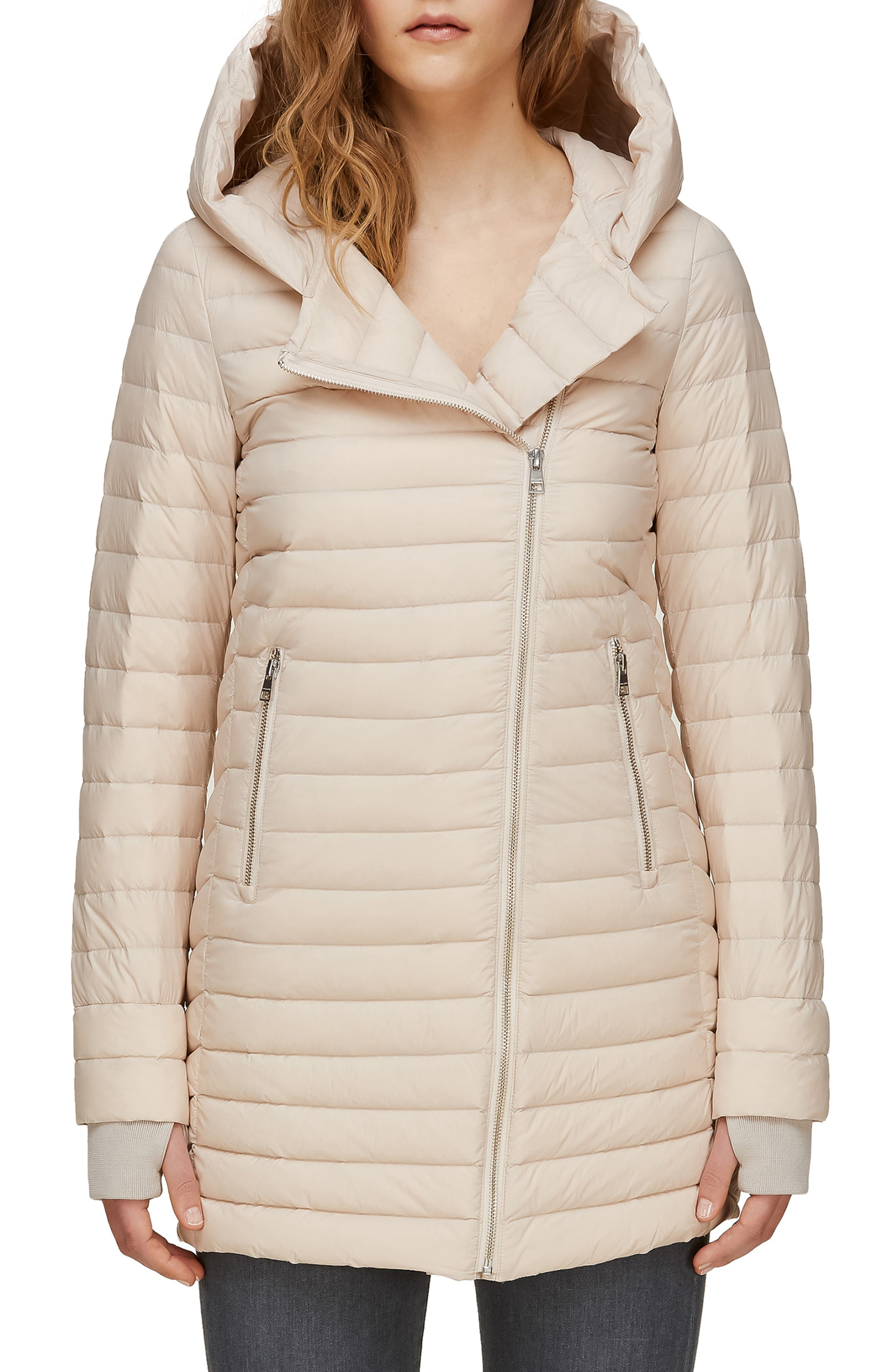 Soia & Kyo Hooded Water Repellent Lightweight Down Coat, Ivory