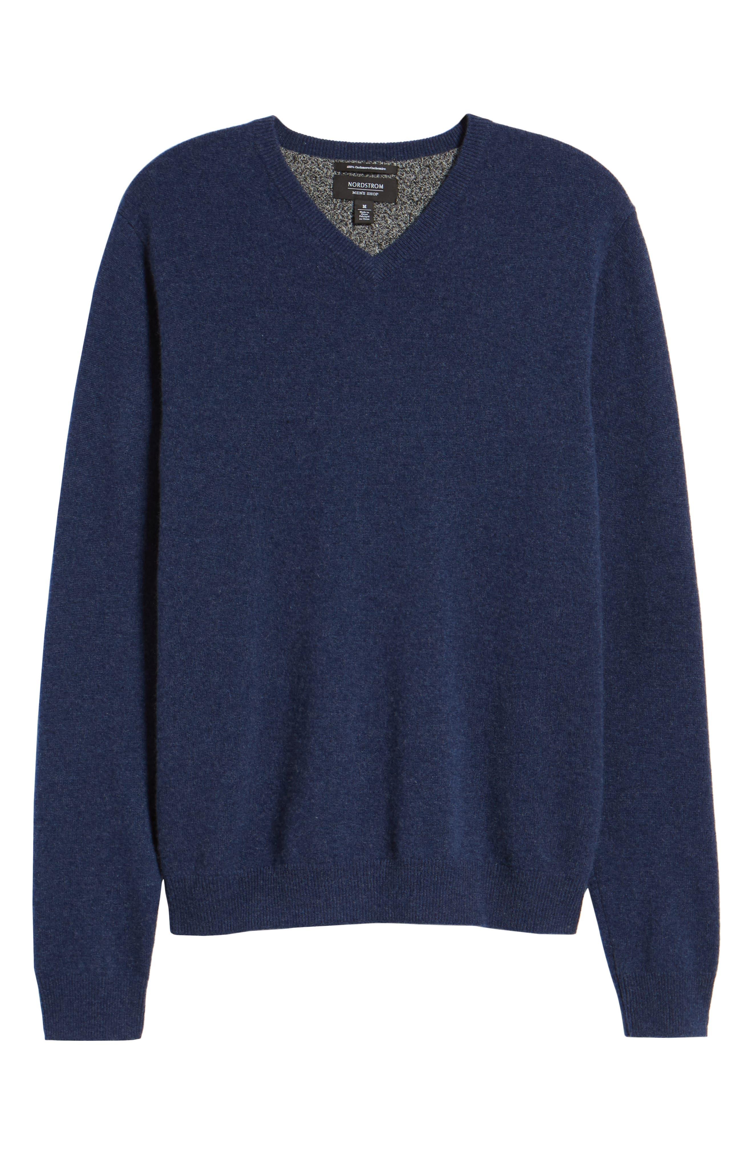 Cashmere V-Neck Sweater,                             Alternate thumbnail 6, color,                             BLUE ESTATE HEATHER