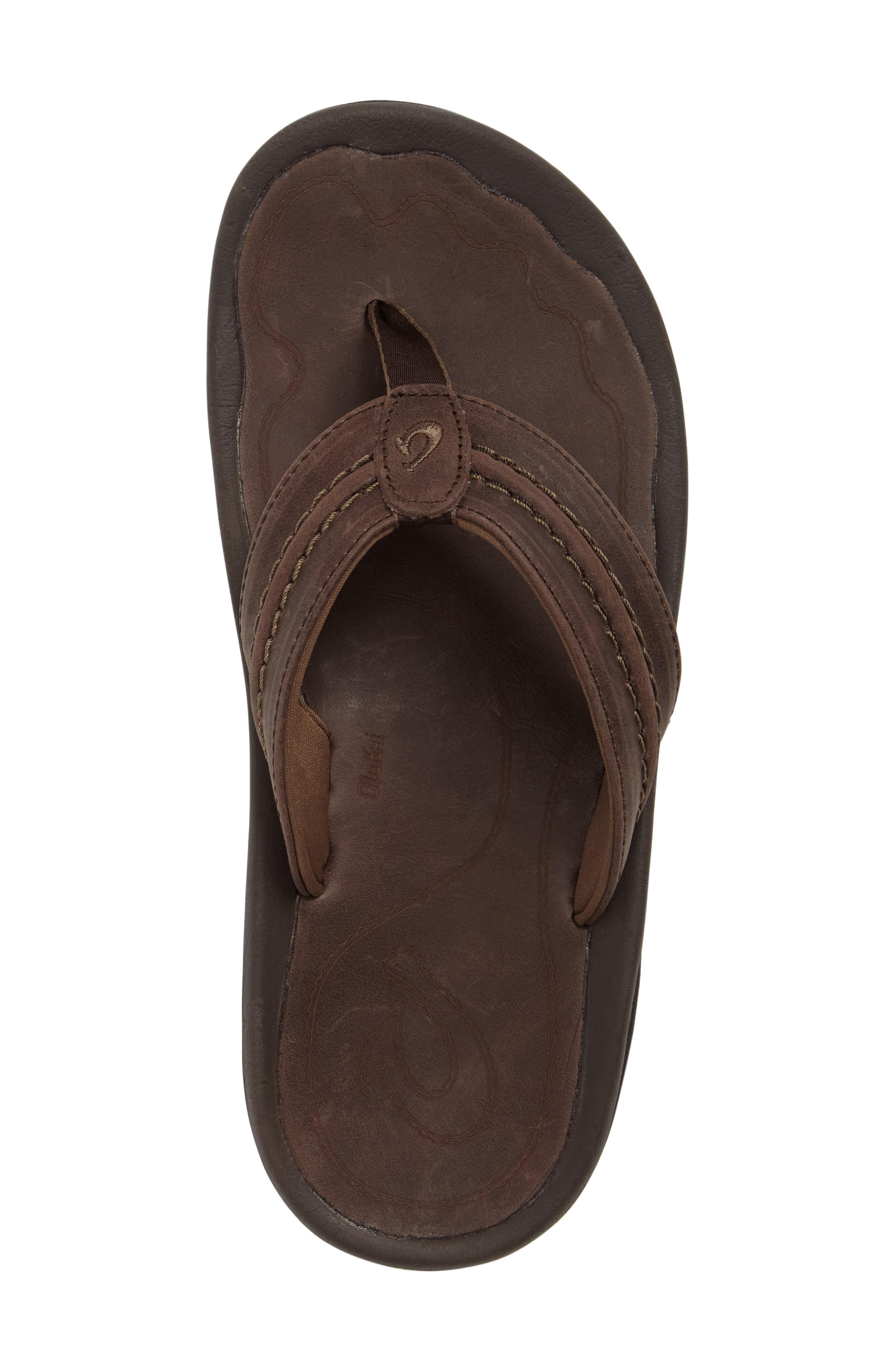 Hokua Flip Flop,                             Alternate thumbnail 5, color,                             DARK WOOD LEATHER