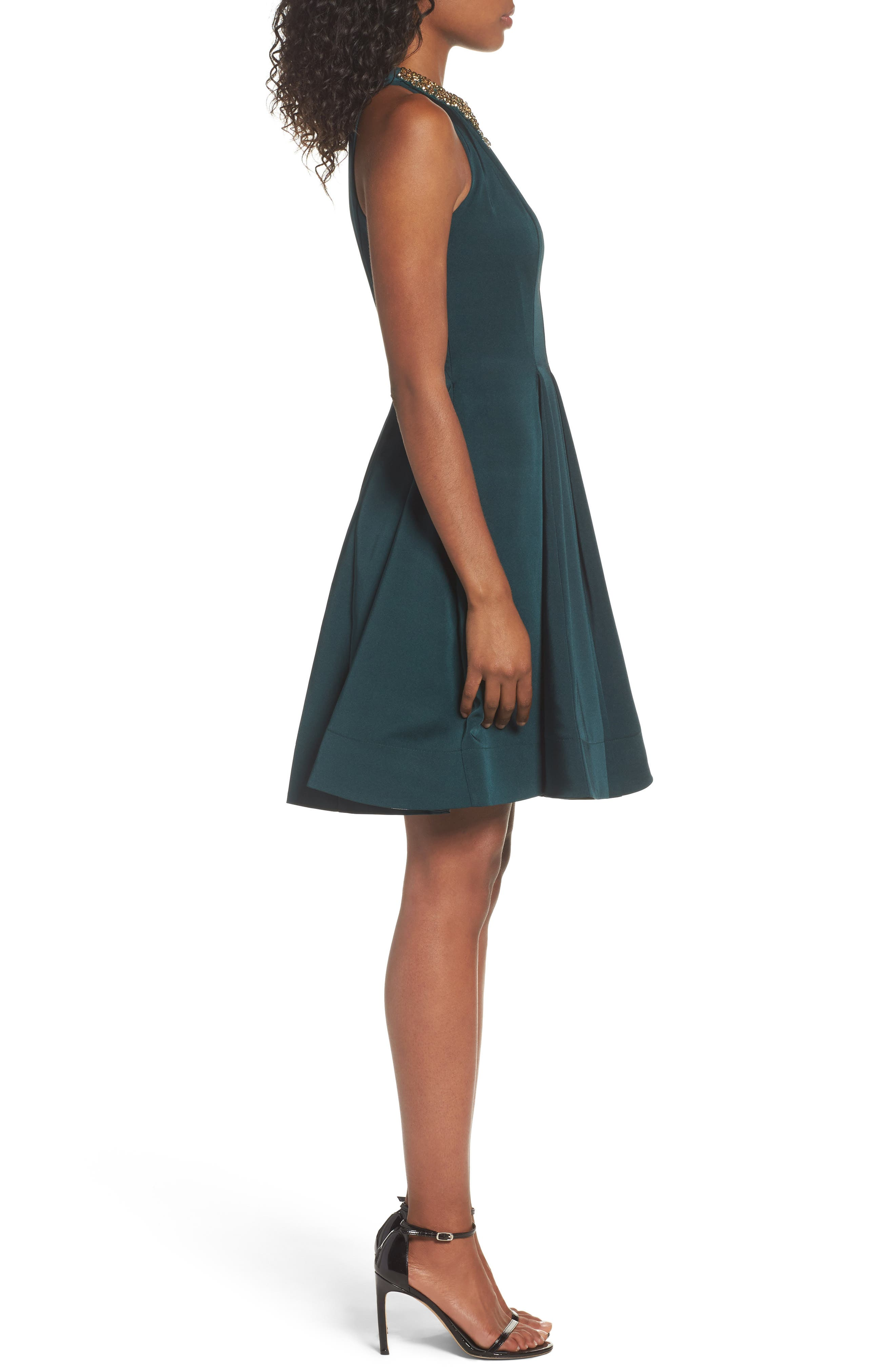 Embellished Fit & Flare Dress,                             Alternate thumbnail 3, color,                             EMERALD