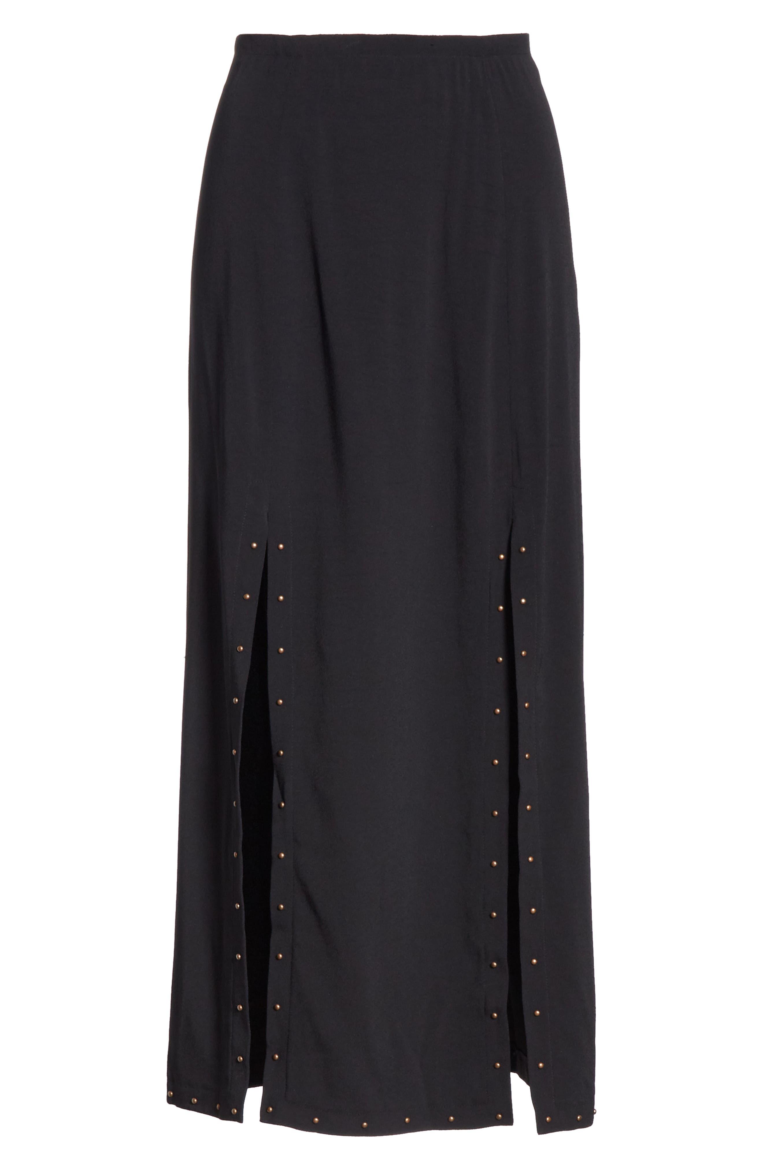 Slit Detail Midi Skirt,                             Alternate thumbnail 6, color,                             BLACK
