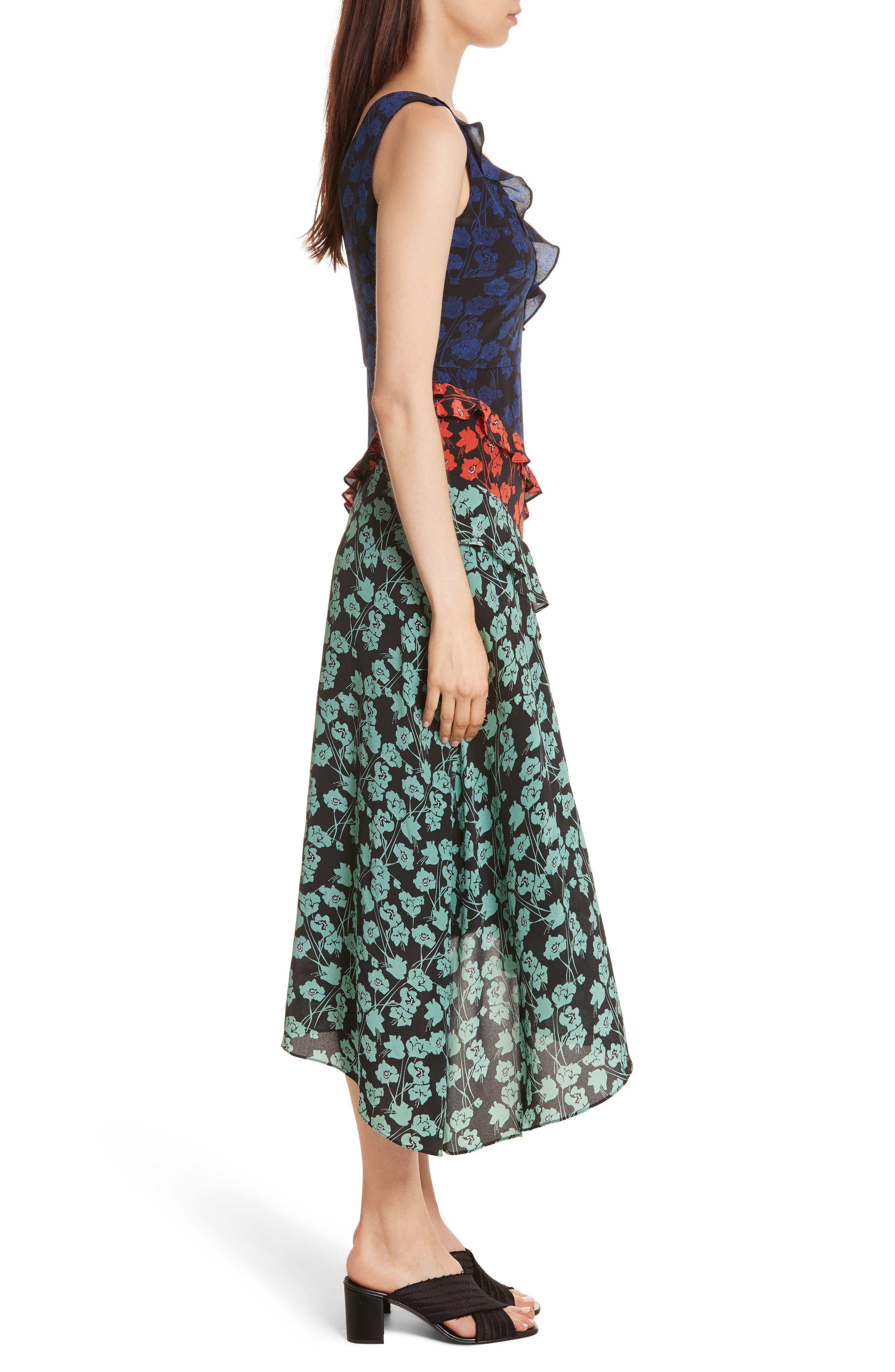 Aggie Floral Print Silk Dress,                             Alternate thumbnail 3, color,                             465