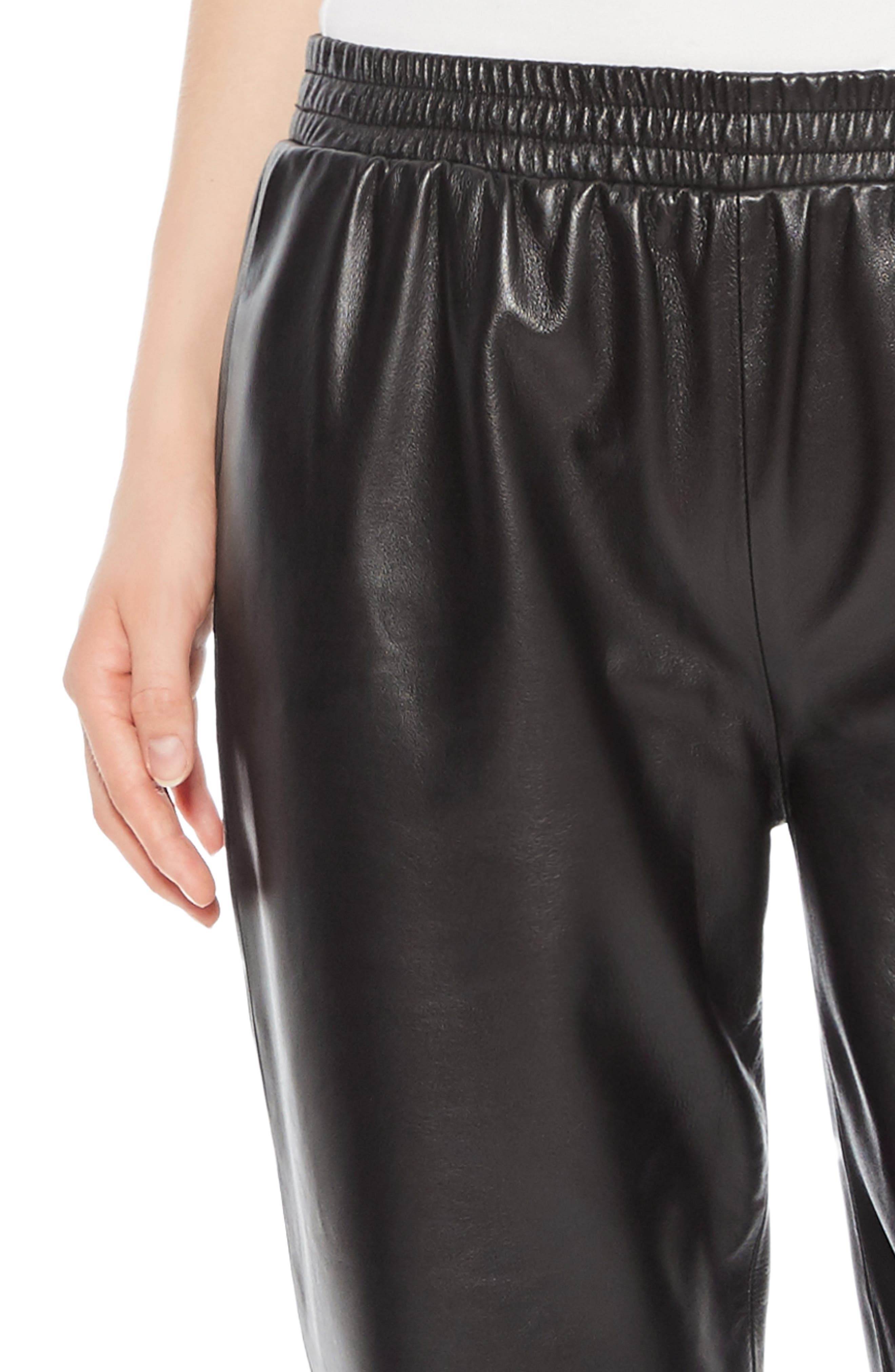 Eavan Leather Jogger Pants,                             Alternate thumbnail 4, color,                             001