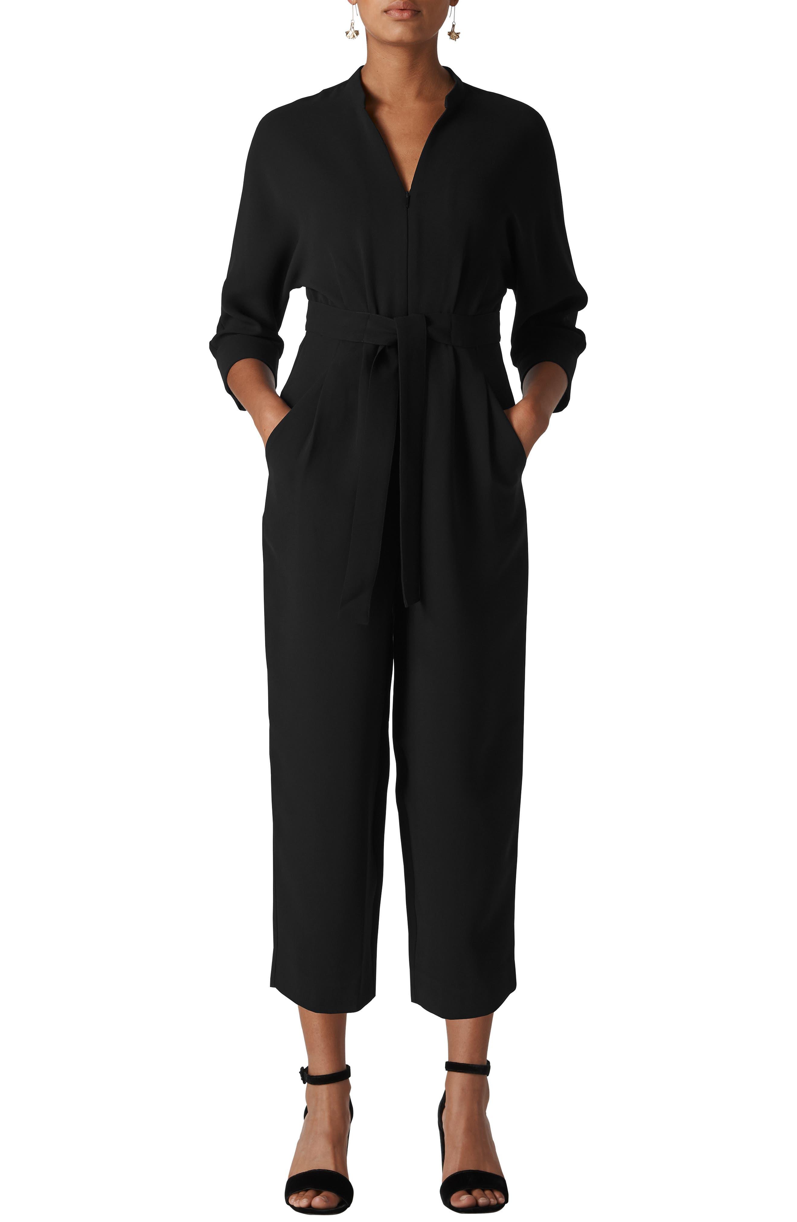 WHISTLES Arabella Zip Front Belted Jumpsuit in Black