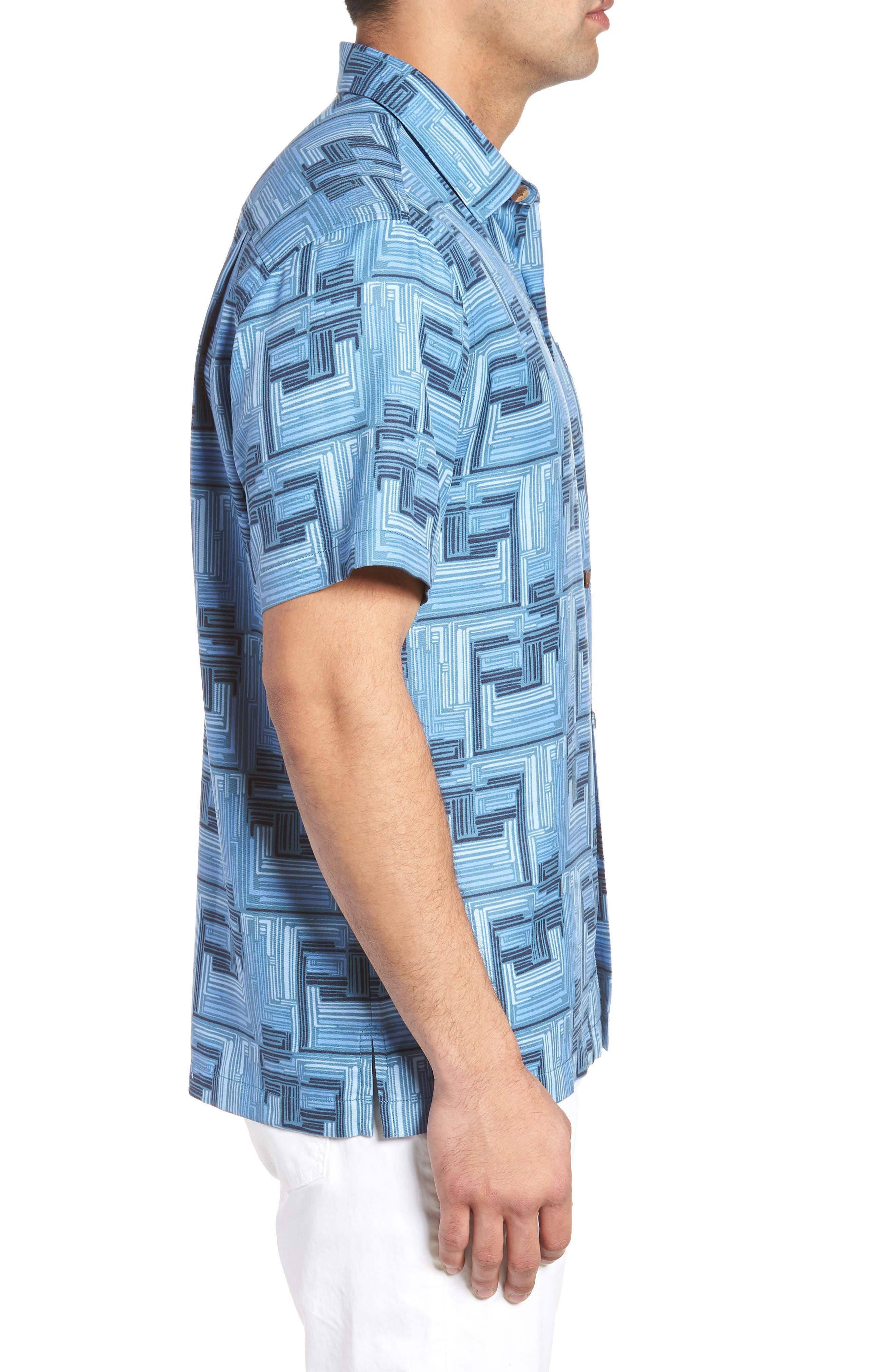 Mayan Maze Silk Blend Performance Camp Shirt,                             Alternate thumbnail 3, color,                             OCEAN DEEP
