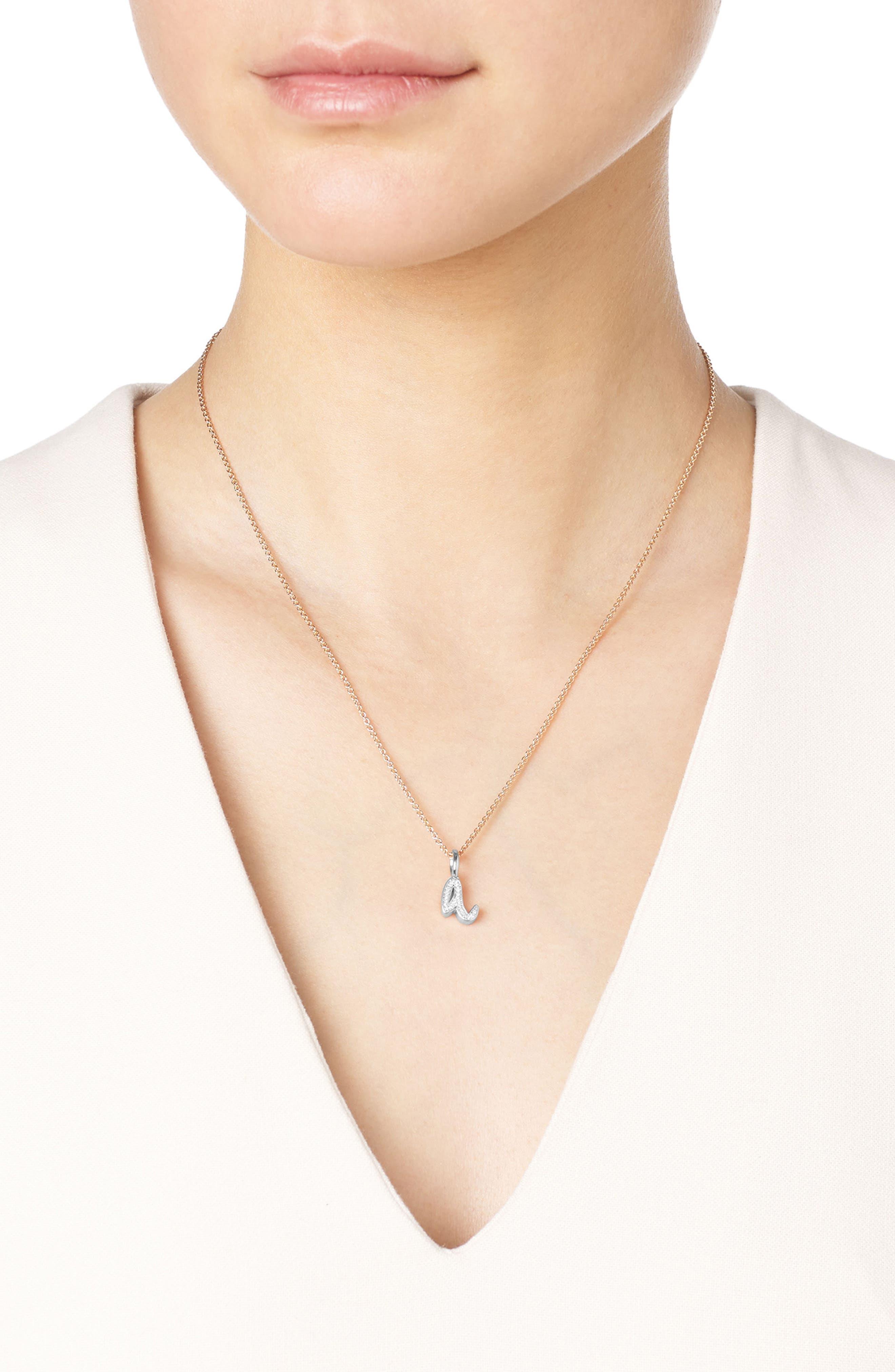 Alphabet Diamond Pavé Pendant Charm,                             Alternate thumbnail 2, color,                             Silver/ Diamond- A