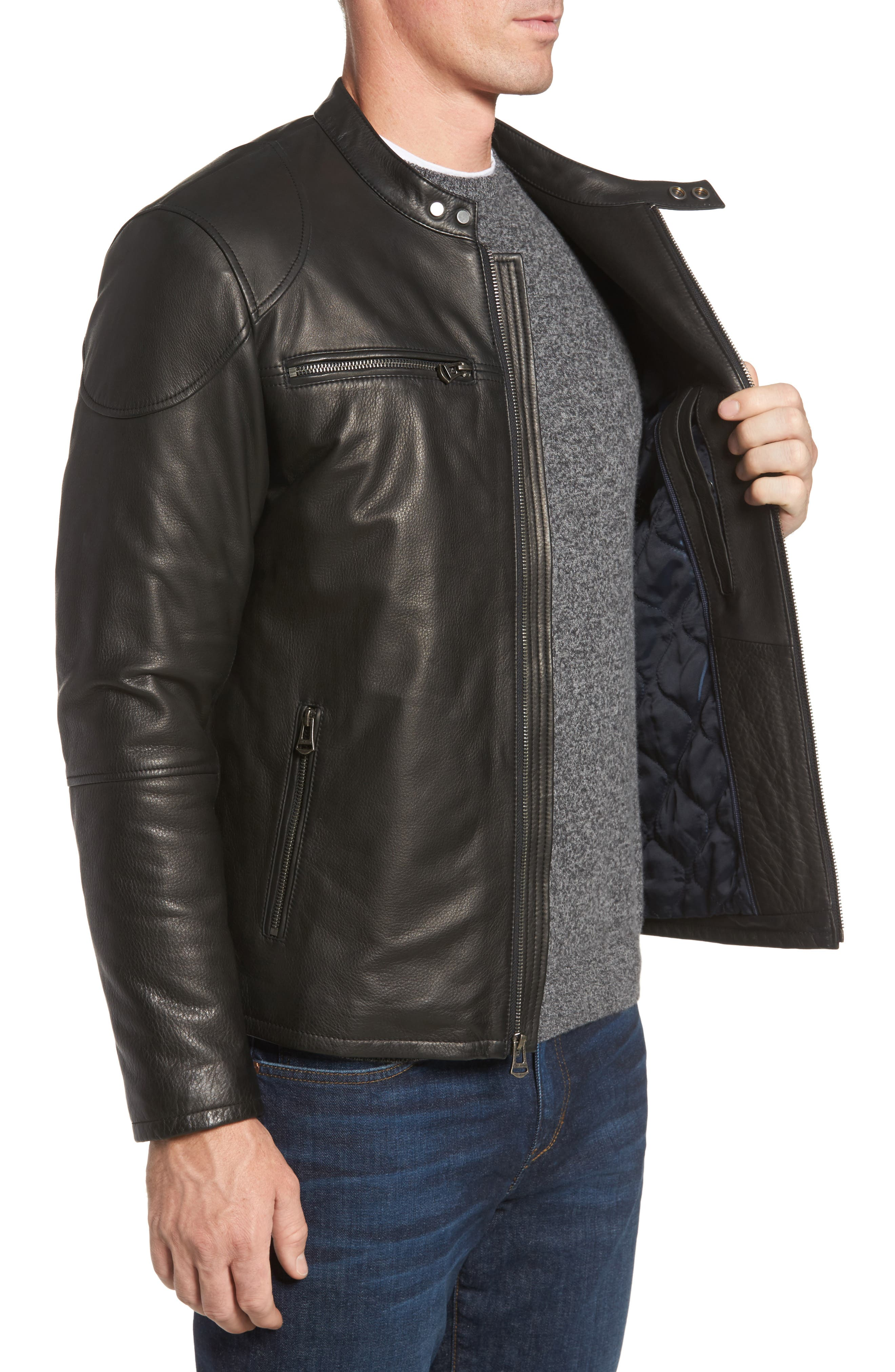 Leather Zip Front Moto Jacket,                             Alternate thumbnail 3, color,                             001