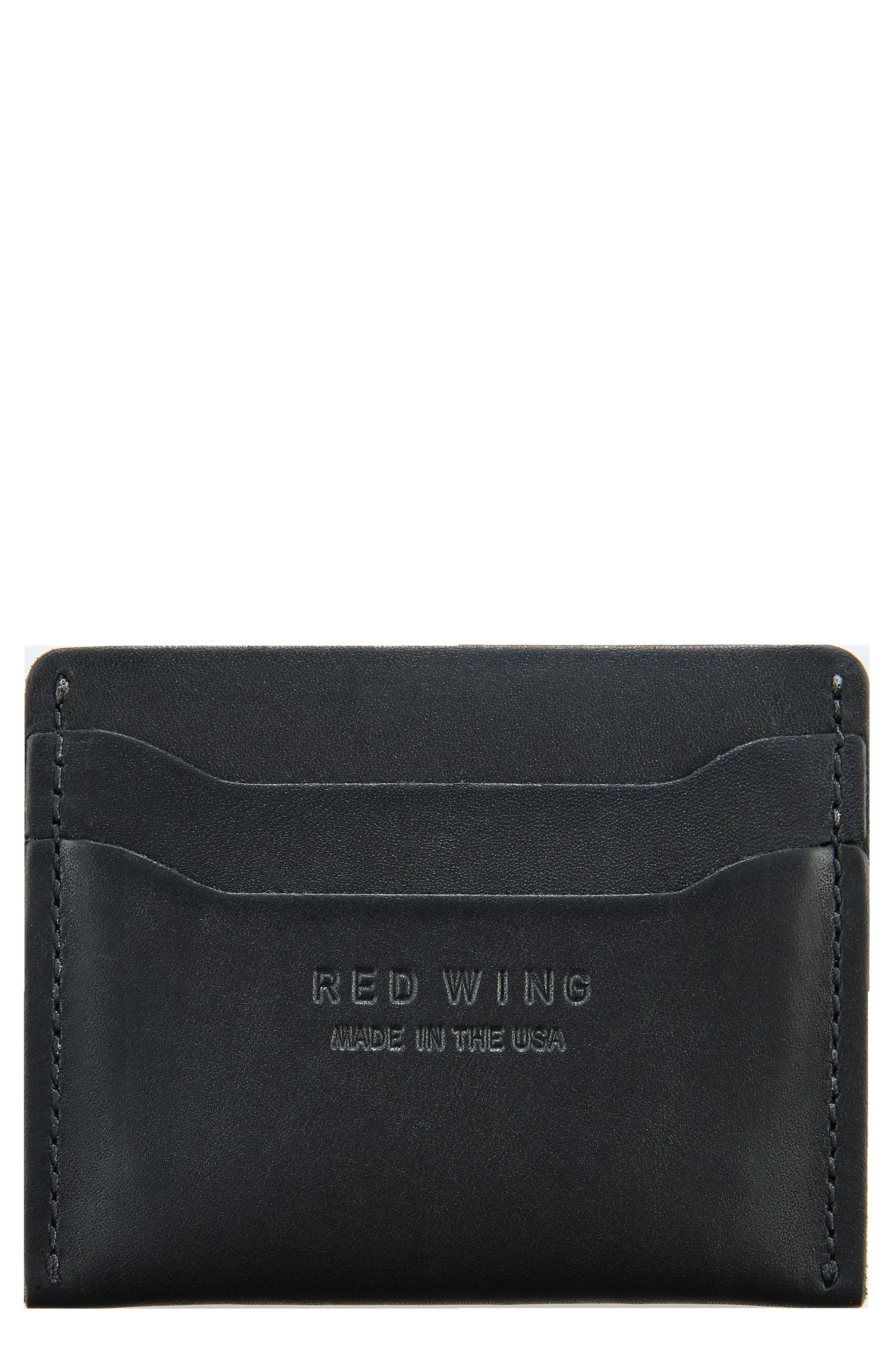 Leather Card Case,                         Main,                         color, BLACK FRONTIER
