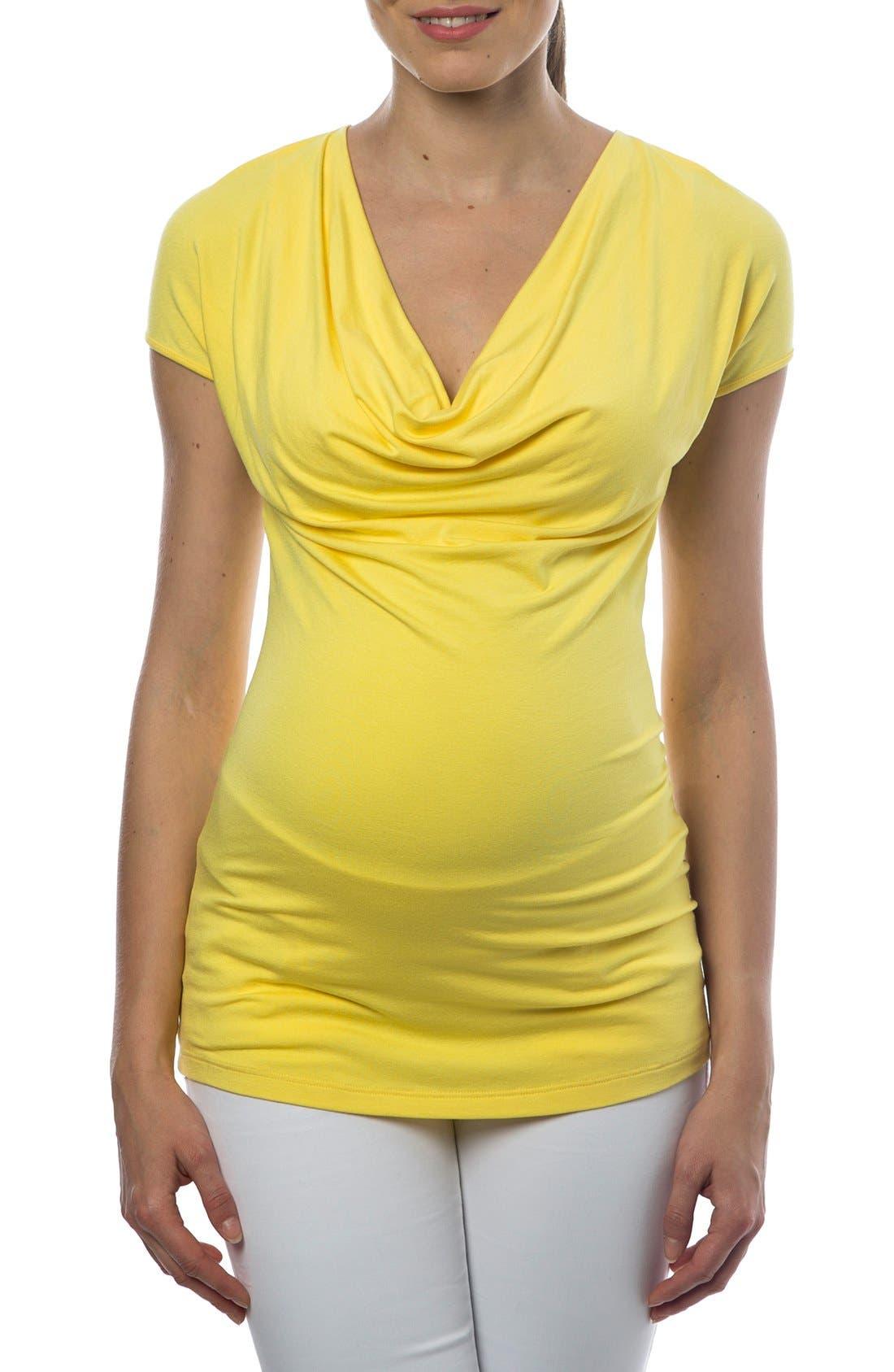 'Ginestra' Cowl Neck Maternity/Nursing Tunic,                             Main thumbnail 1, color,                             LEMON