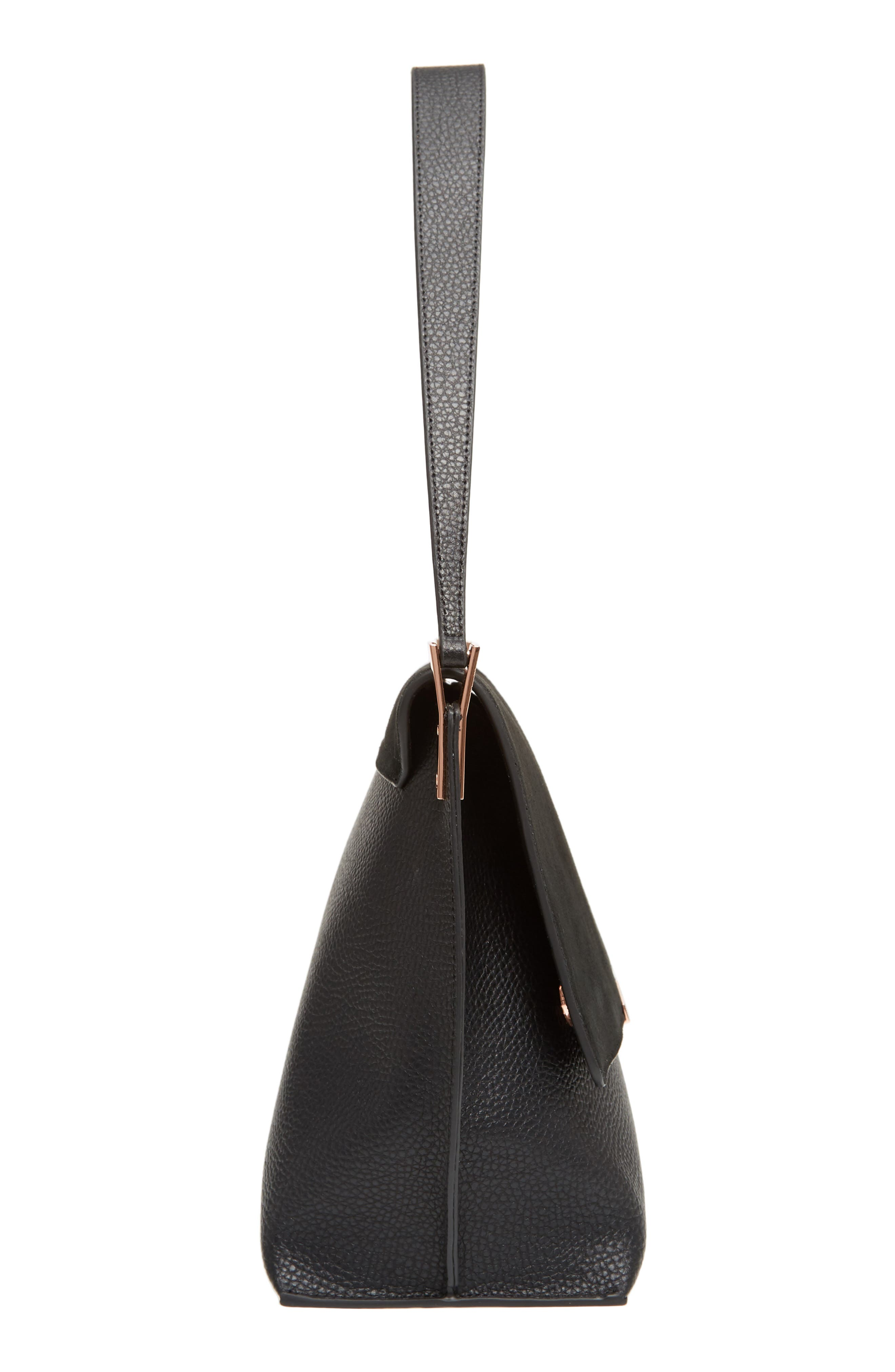 Katlynn Suede & Leather Shoulder Bag,                             Alternate thumbnail 5, color,                             BLACK