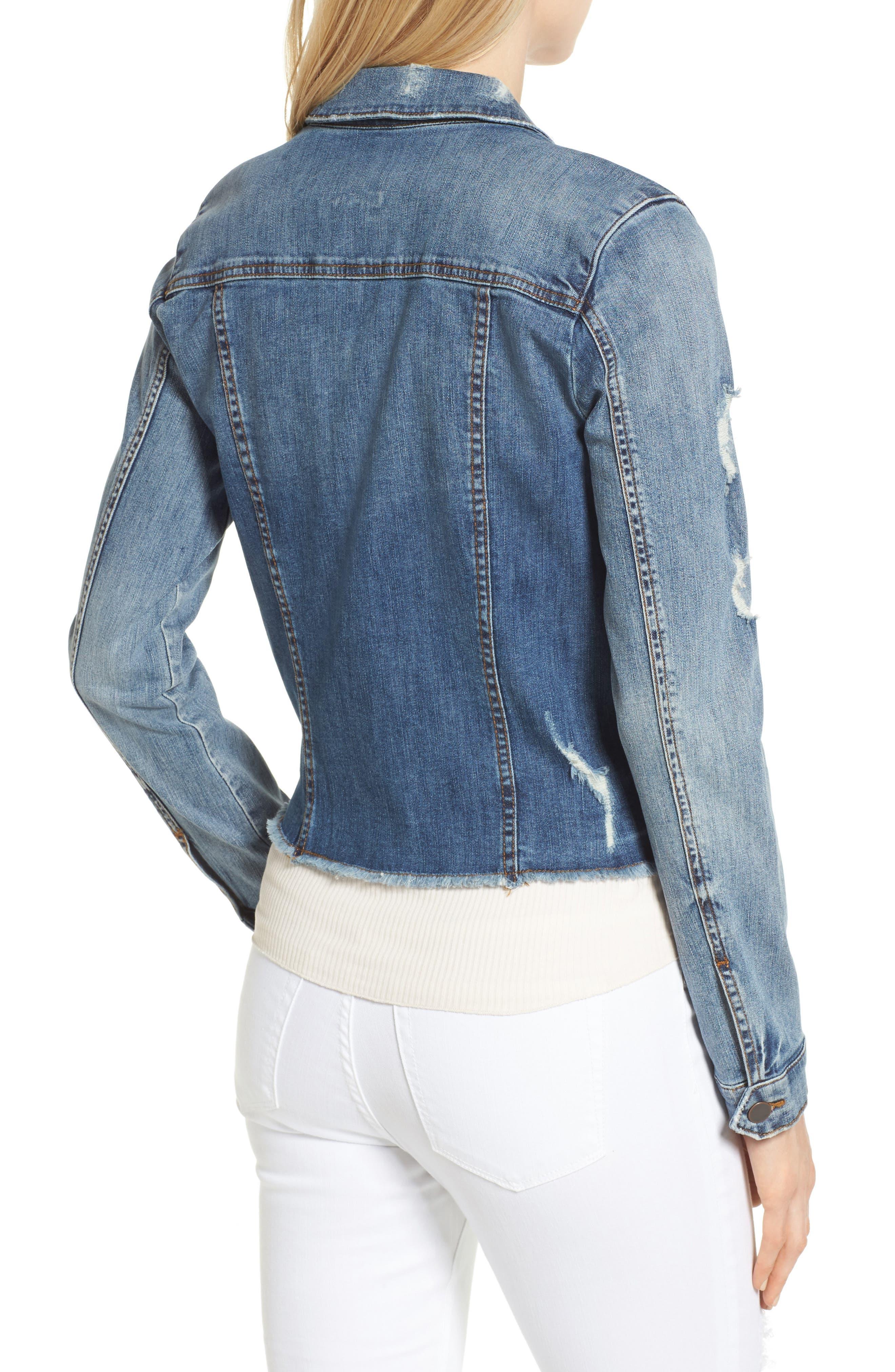 Kara Ripped Denim Jacket,                             Alternate thumbnail 2, color,                             401