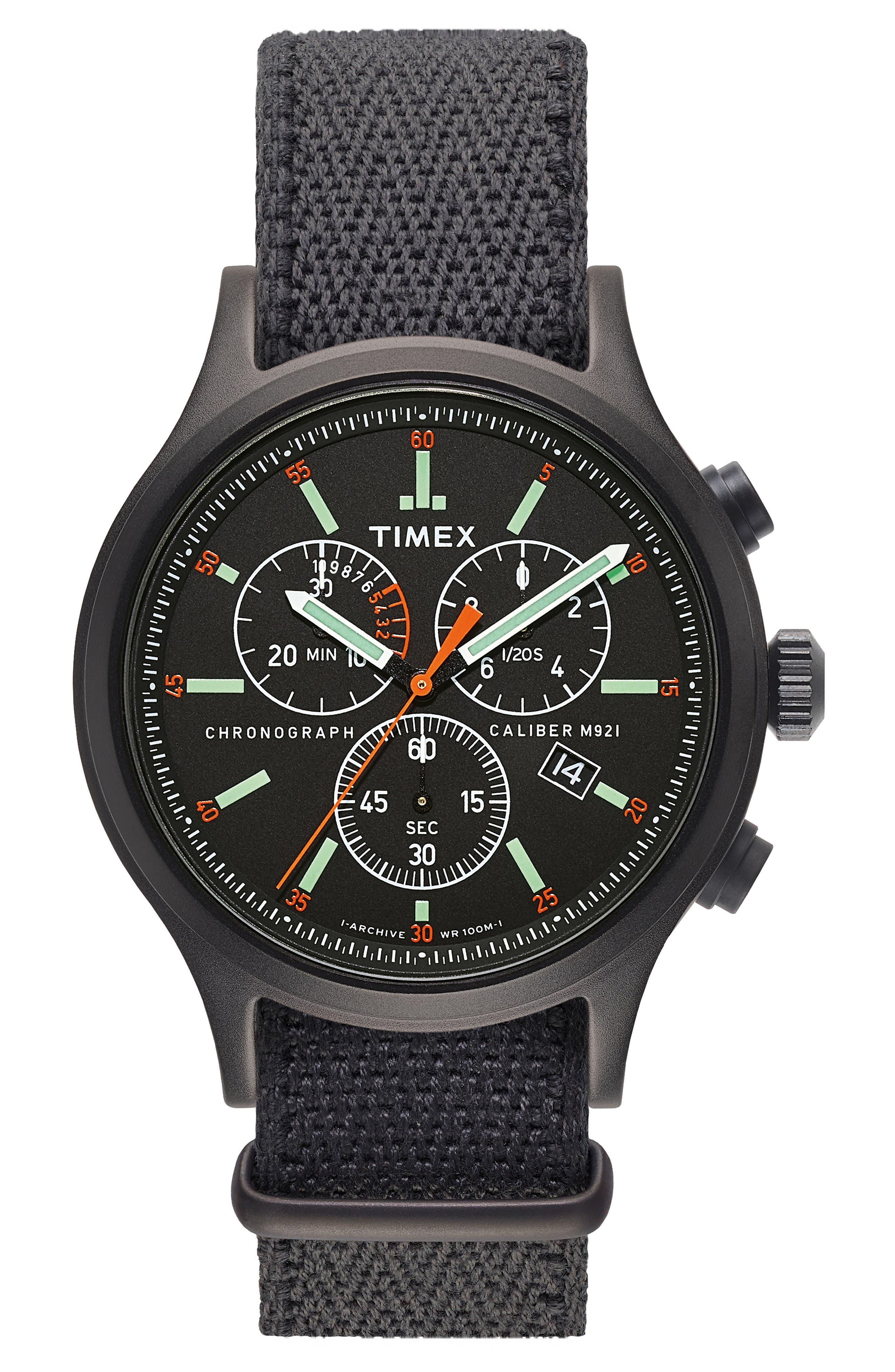 Allied Chronograph Reversible Strap Watch, 42mm,                             Main thumbnail 1, color,                             BLACK/ BLACK/ BLACK