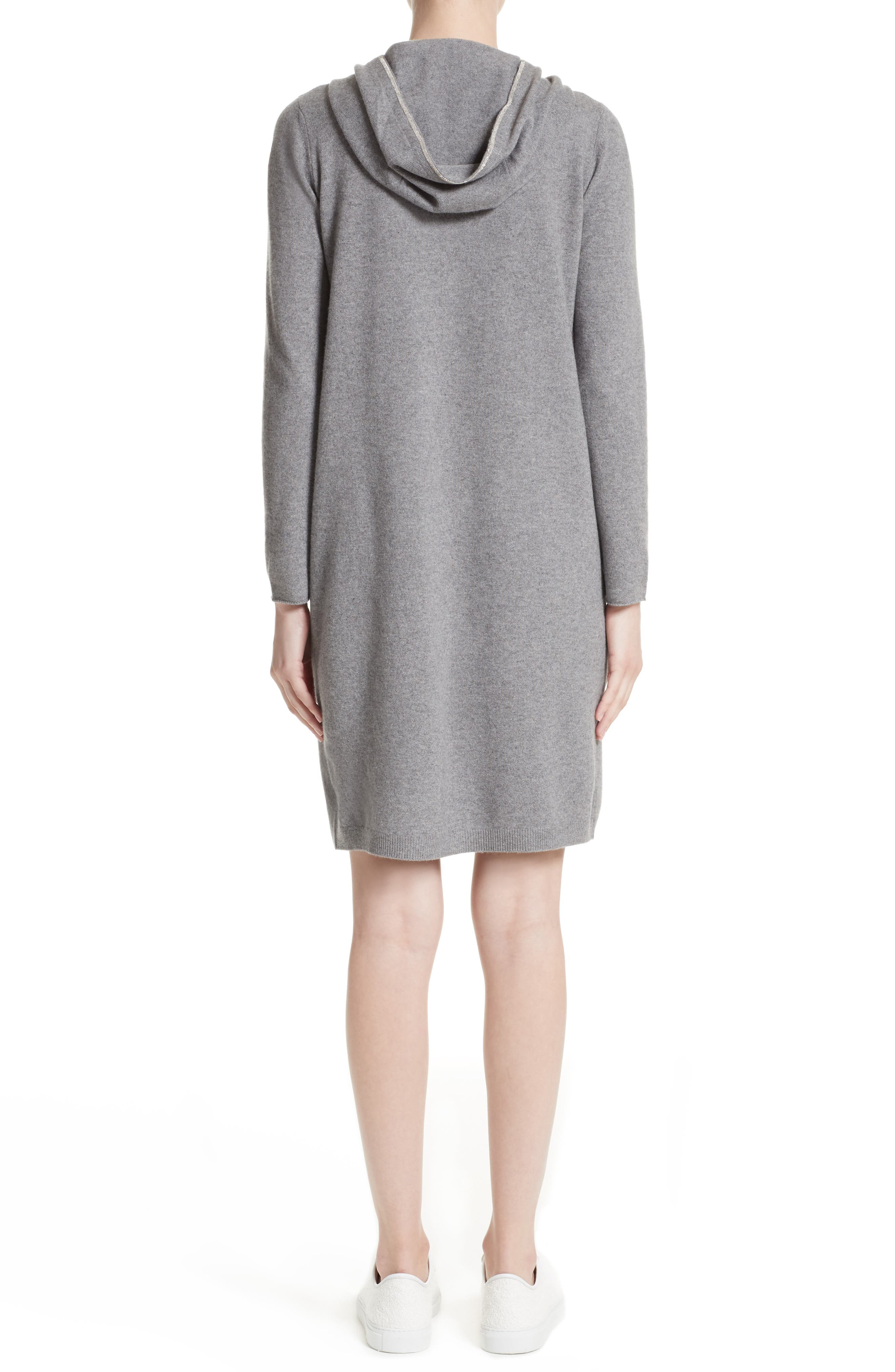 Wool, Silk & Cashmere Hooded Dress,                             Alternate thumbnail 2, color,                             020