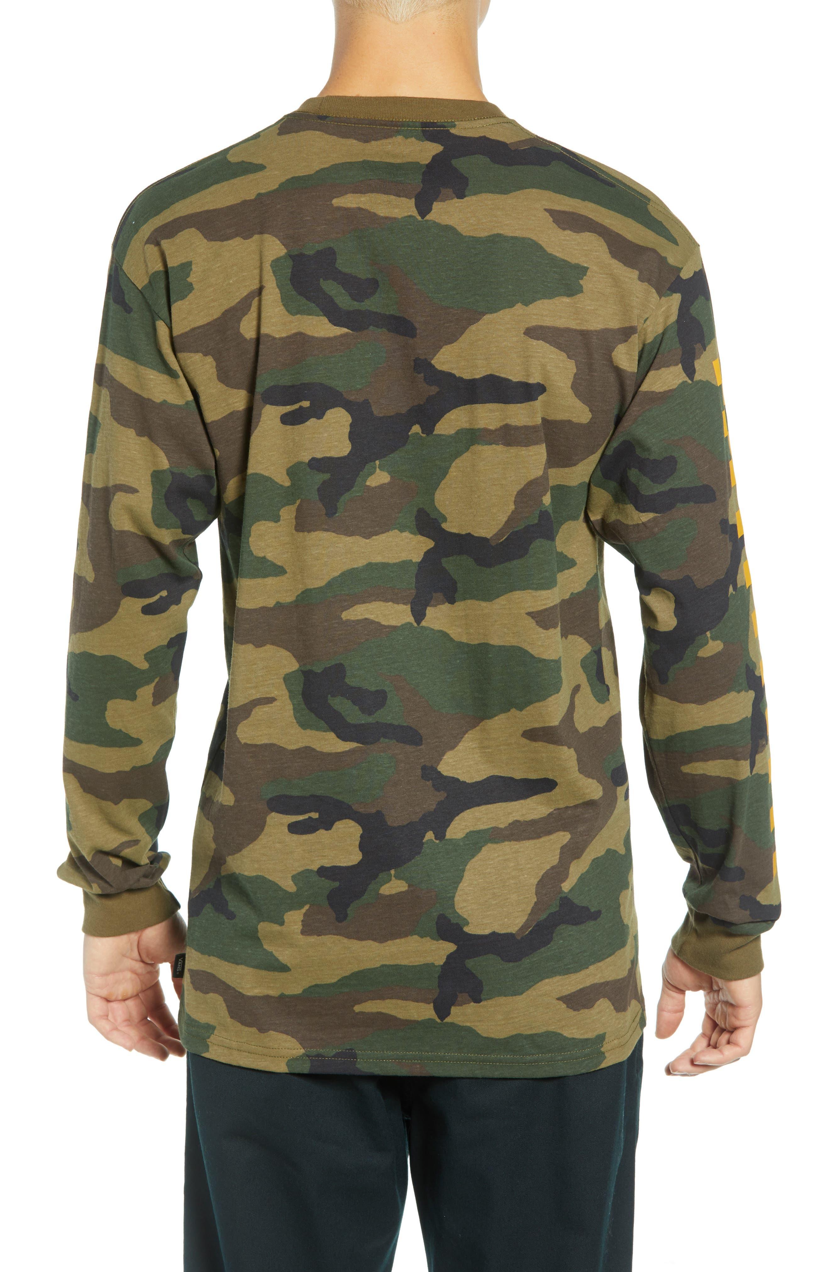 Check Print Long Sleeve Camo T-Shirt,                             Alternate thumbnail 2, color,                             CAMO
