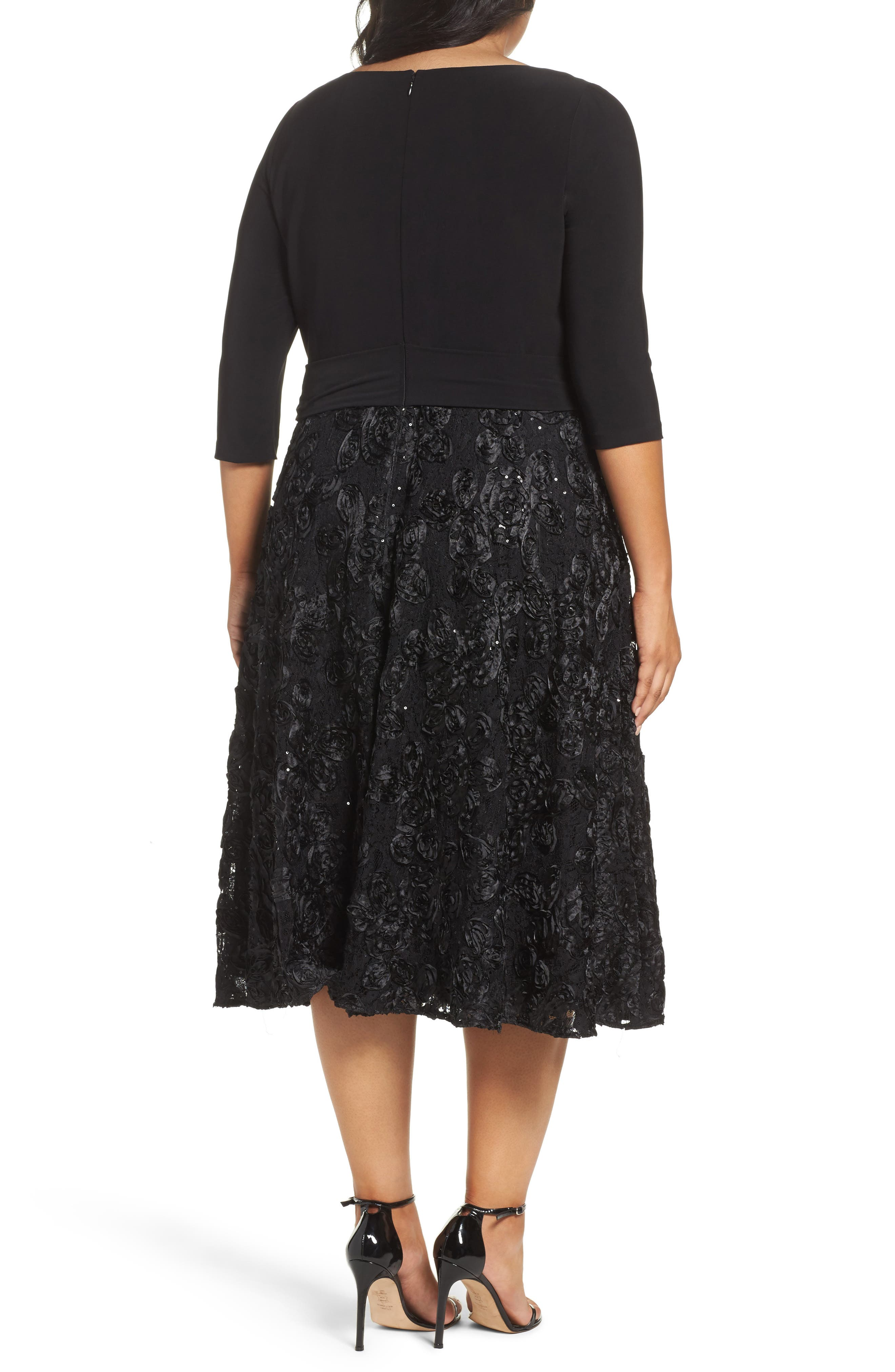 Tea Length Jersey & Rosette Lace Dress,                             Alternate thumbnail 3, color,