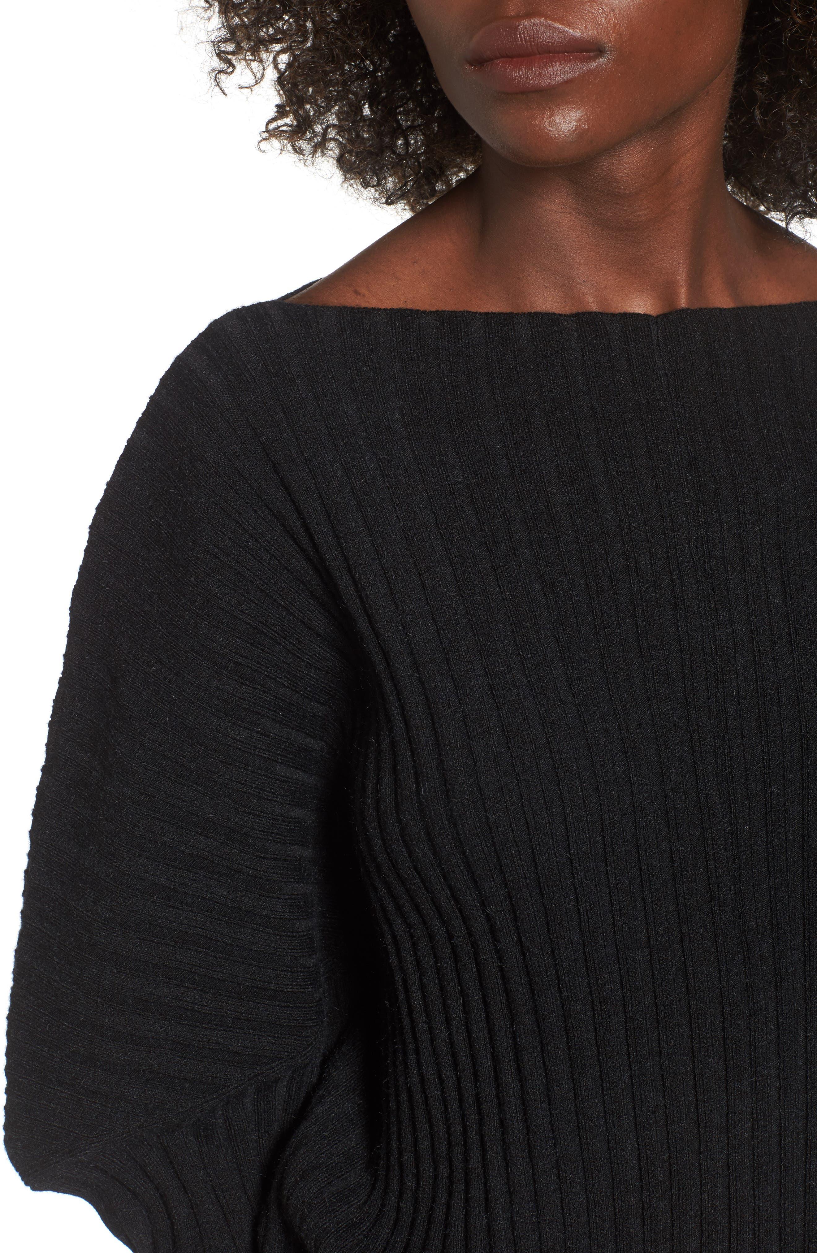 Rib Knit Blouson Sweater,                             Alternate thumbnail 4, color,                             001