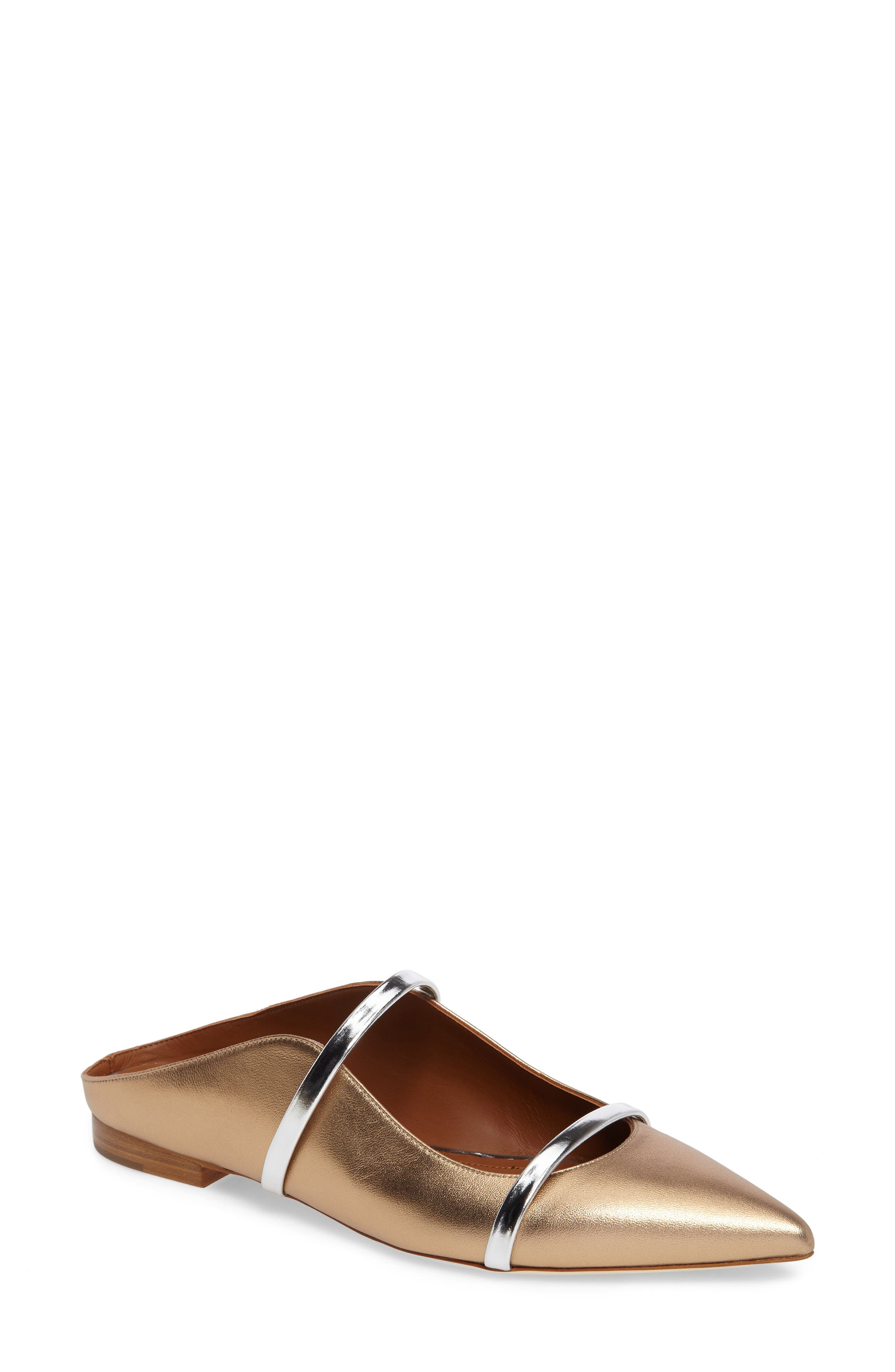 Maureen Pointy Toe Flat,                         Main,                         color, GOLD/ SILVER