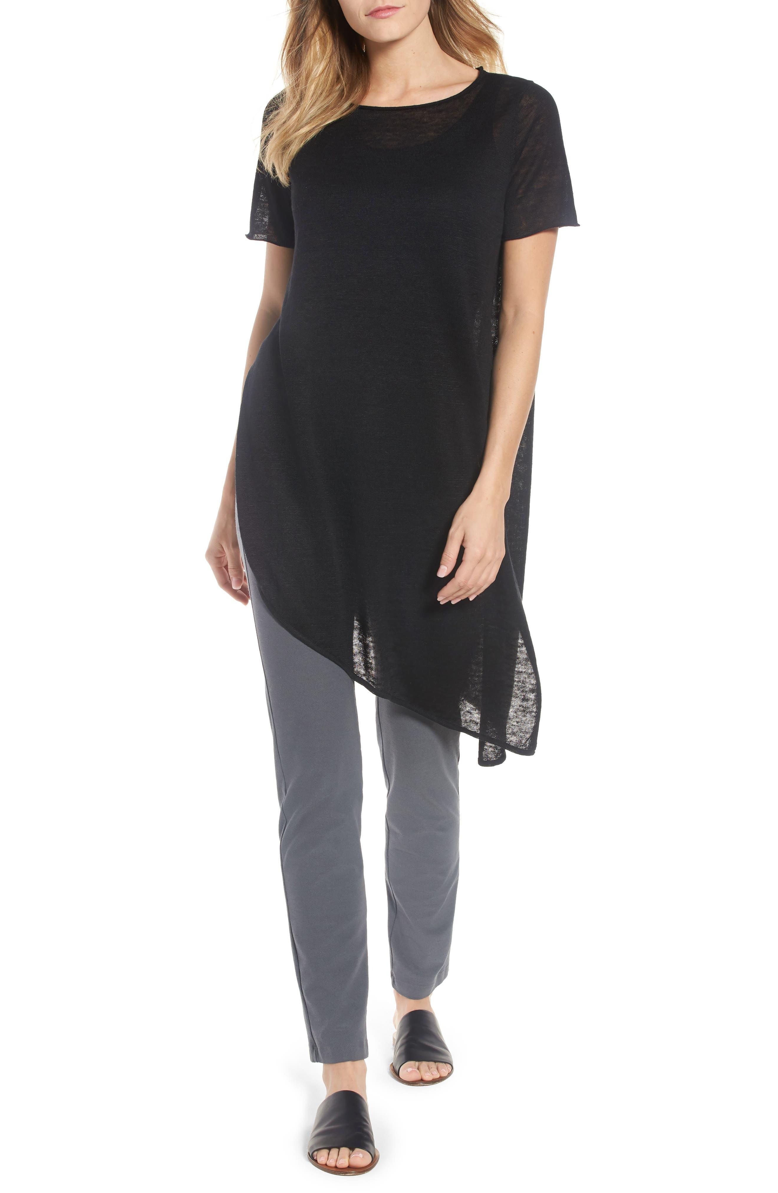 Asymmetrical Organic Linen Tunic,                         Main,                         color, 001