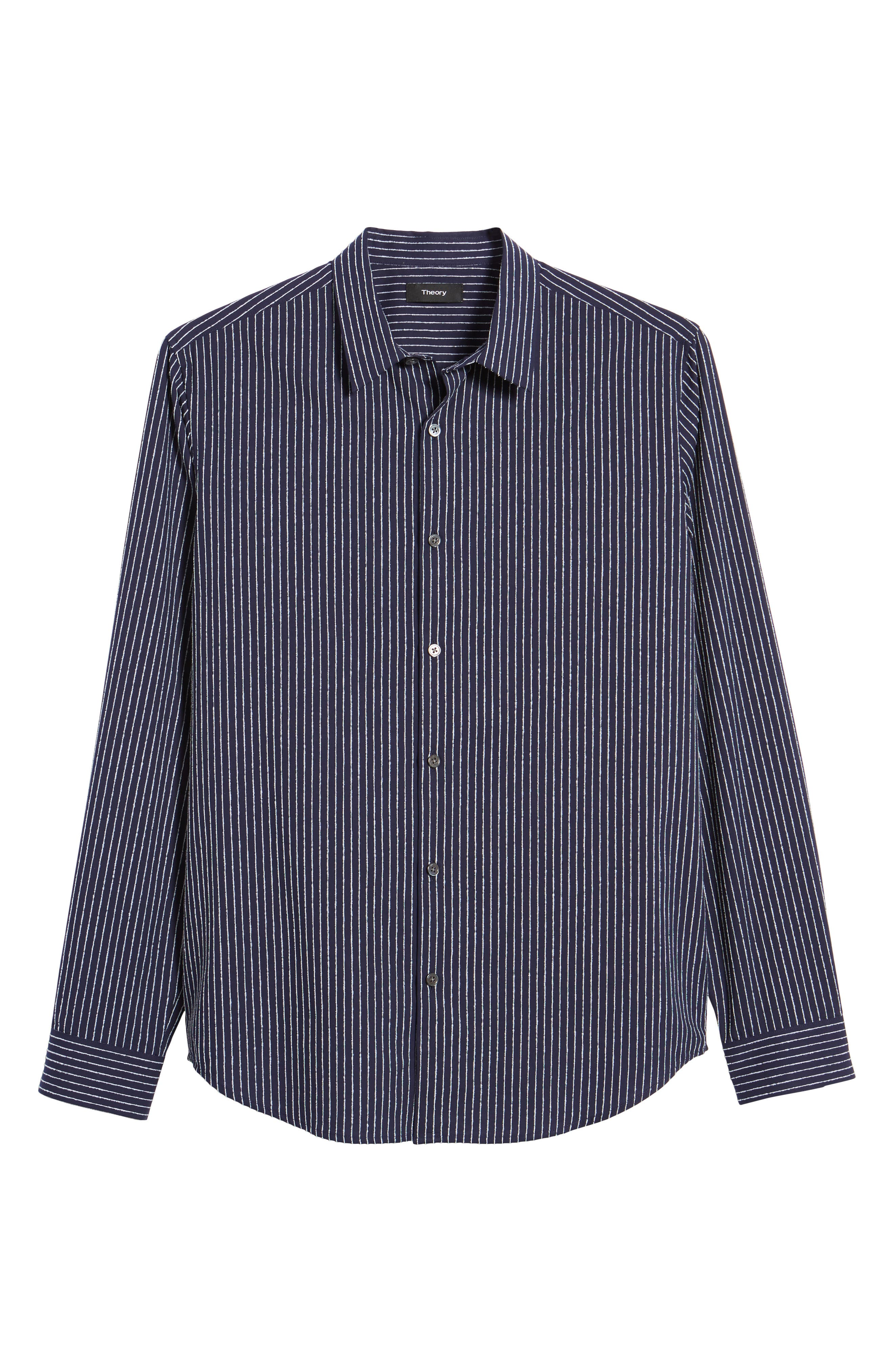 Irving Chenille Stripe Sport Shirt,                             Alternate thumbnail 6, color,
