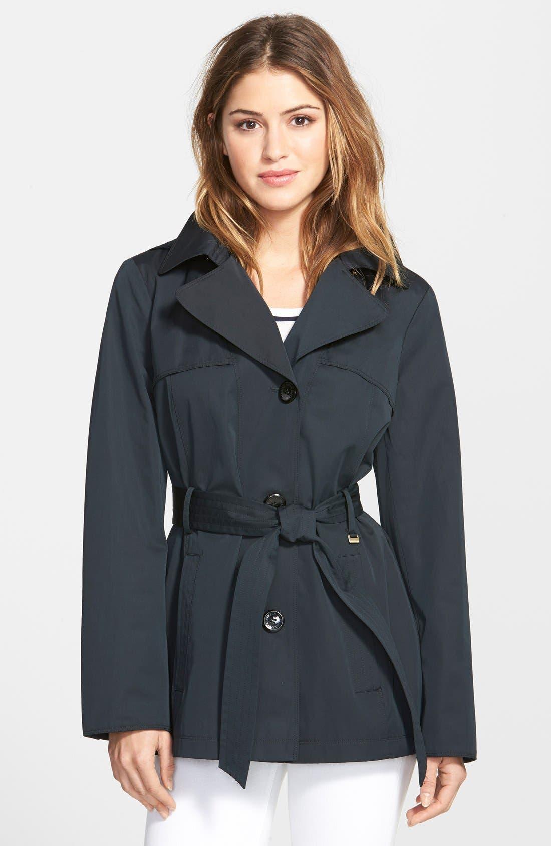 Cotton Blend Short Trench Coat,                             Main thumbnail 1, color,                             001