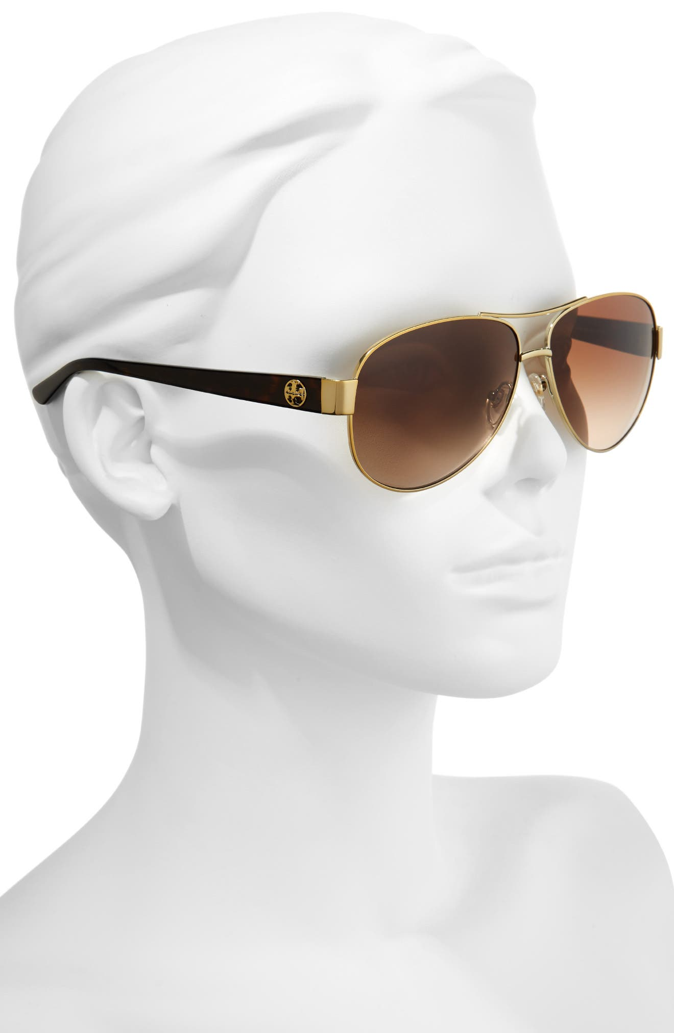 60mm Aviator Sunglasses,                             Alternate thumbnail 2, color,                             GOLD/ BROWN