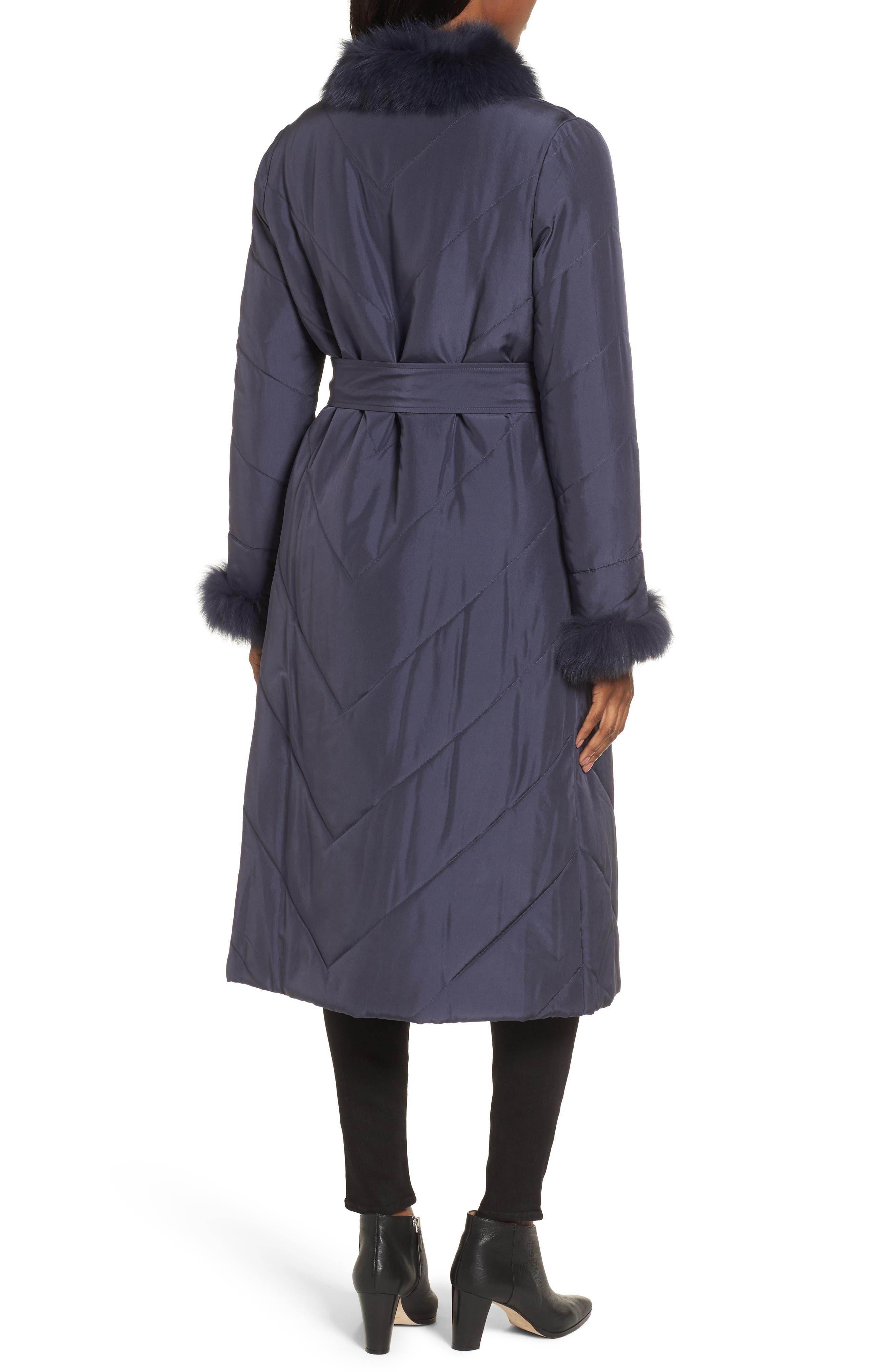 Couture Packable Silk Coat with Genuine Fox Fur & Genuine Rabbit Fur,                             Alternate thumbnail 4, color,