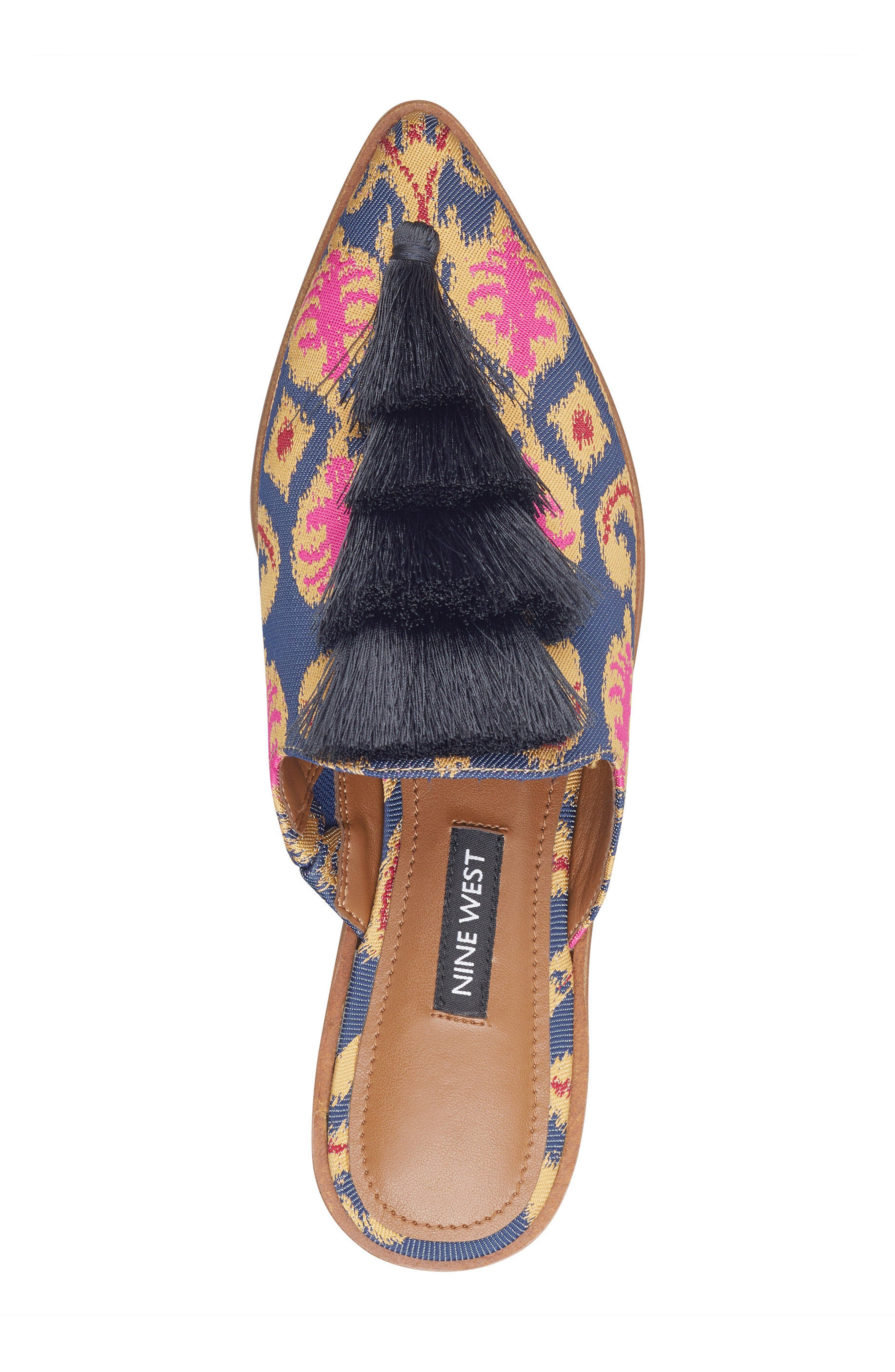 Ollial Fringed Loafer Mule,                             Alternate thumbnail 5, color,                             BLUE MULTI FABRIC