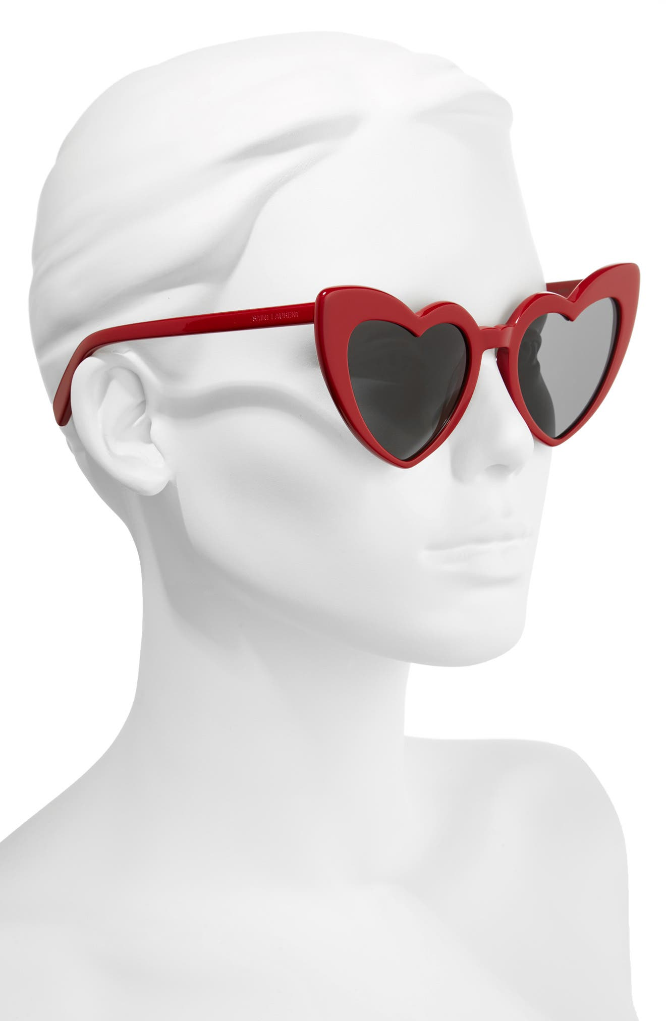 Loulou 54mm Heart Sunglasses,                             Alternate thumbnail 2, color,                             RED/ GREY