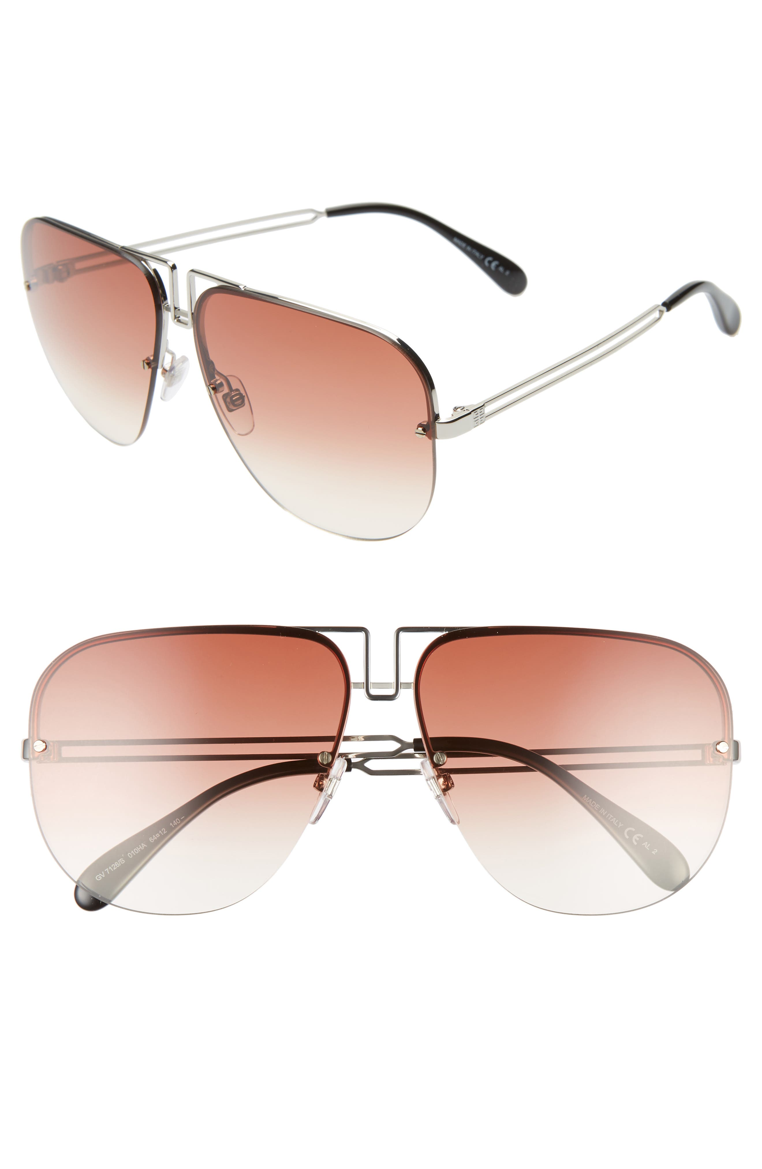 GIVENCHY 64mm Oversize Aviator Sunglasses, Main, color, PALLADIUM/ COPPER