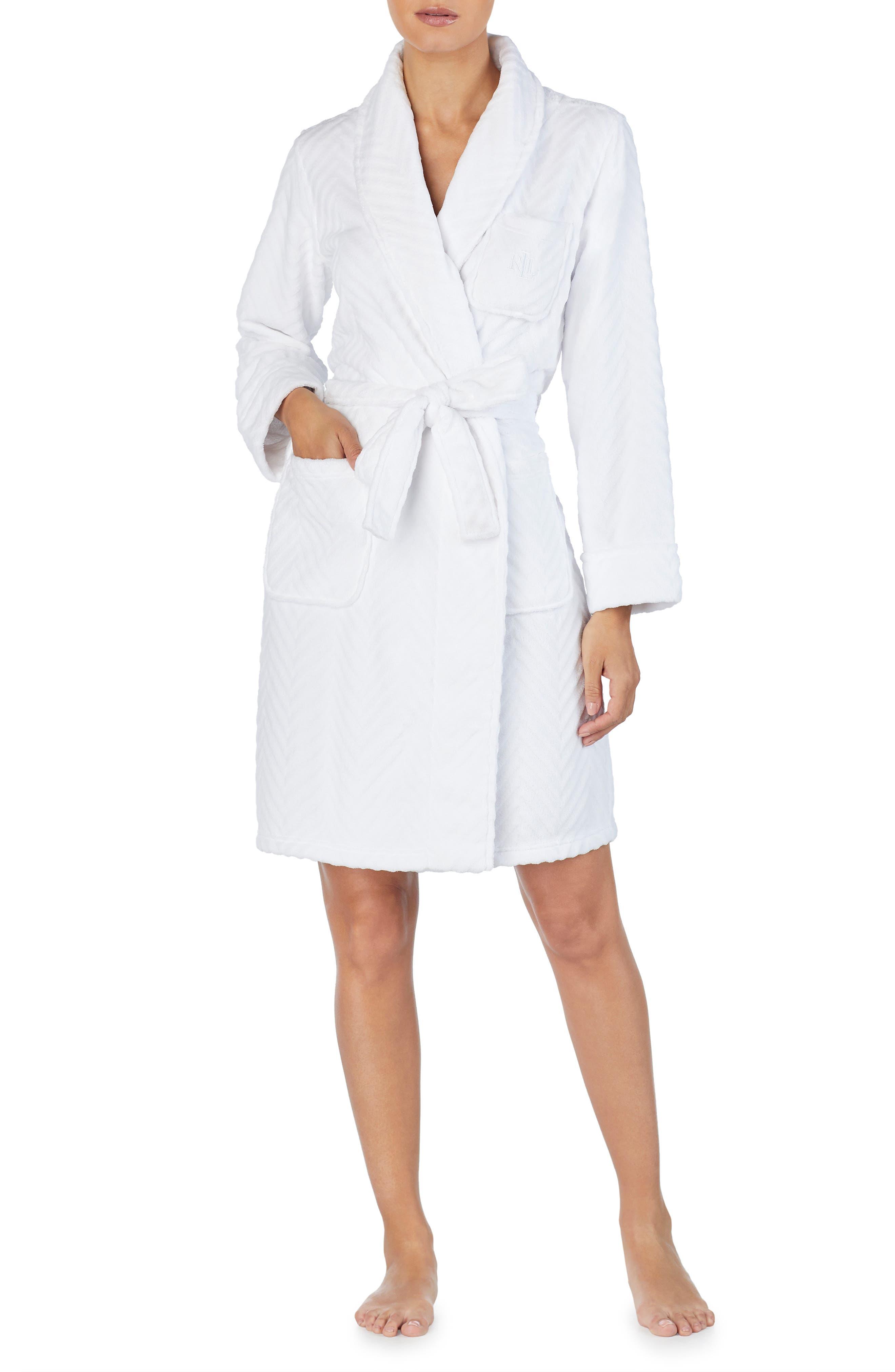 LAUREN RALPH LAUREN Short Fleece Robe in White