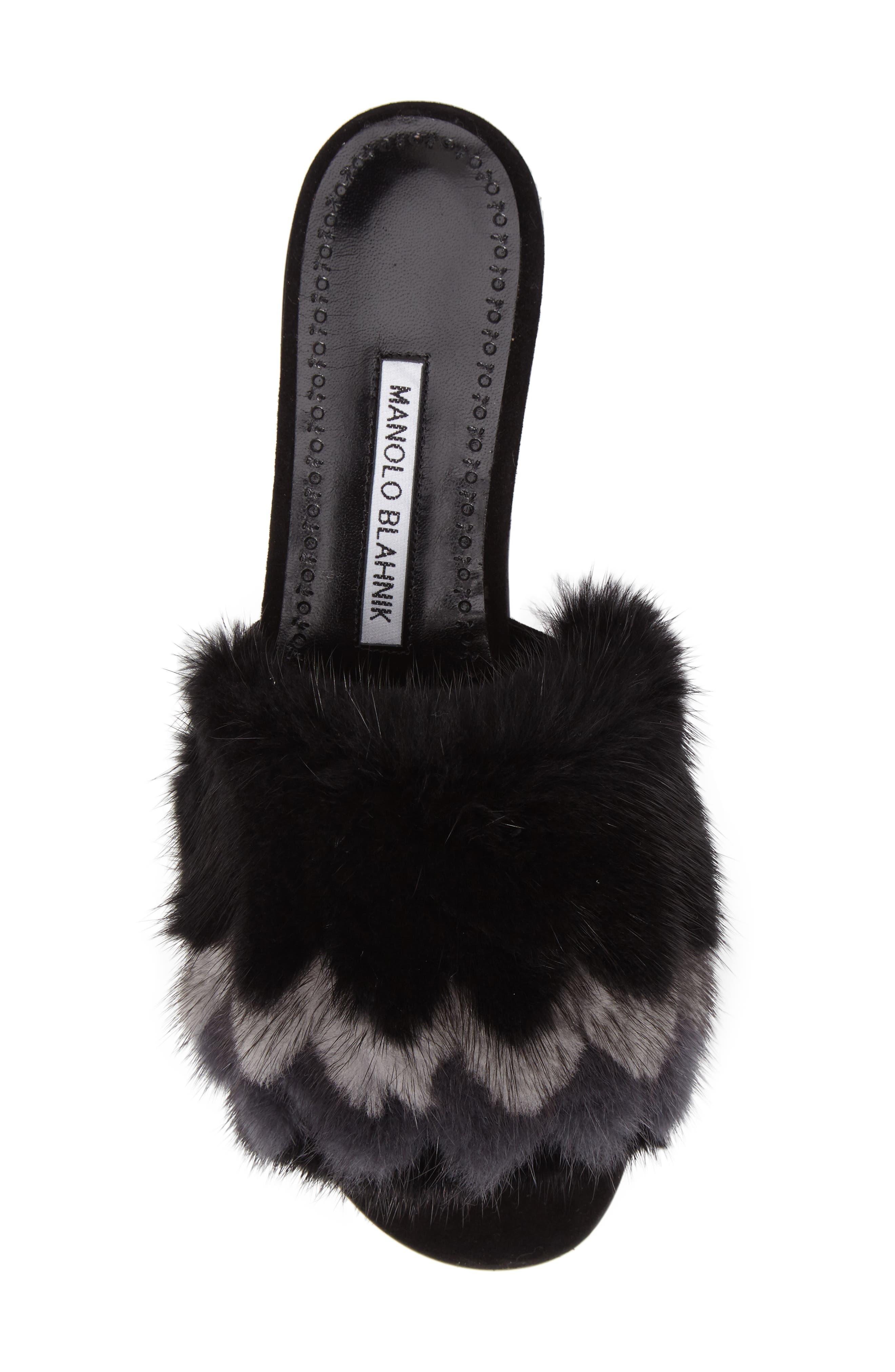 Pelosusmin Genuine Mink Fur Slide Sandal,                             Alternate thumbnail 5, color,                             001
