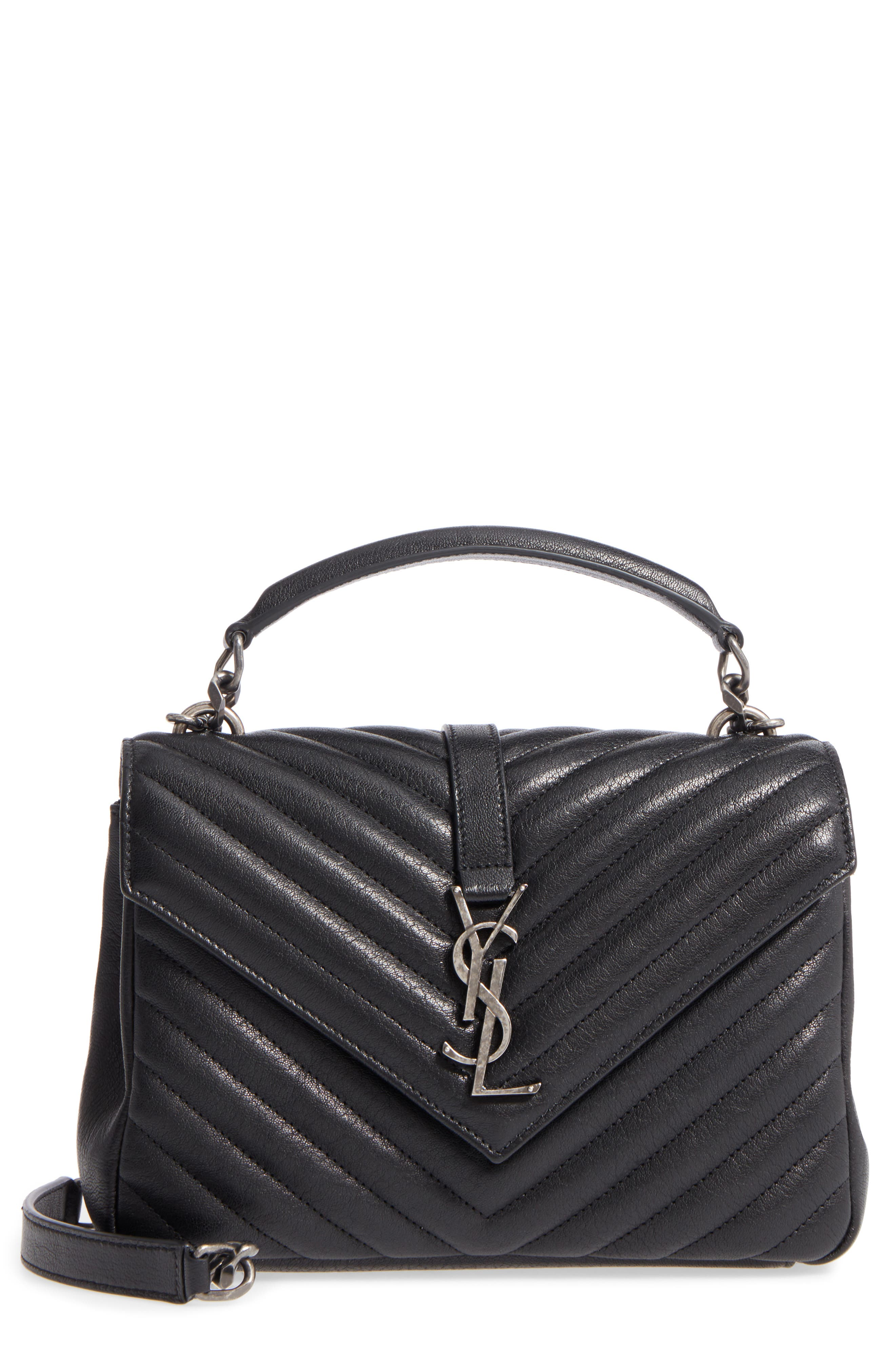 Medium College Quilted Leather Shoulder Bag,                             Main thumbnail 1, color,                             NOIR