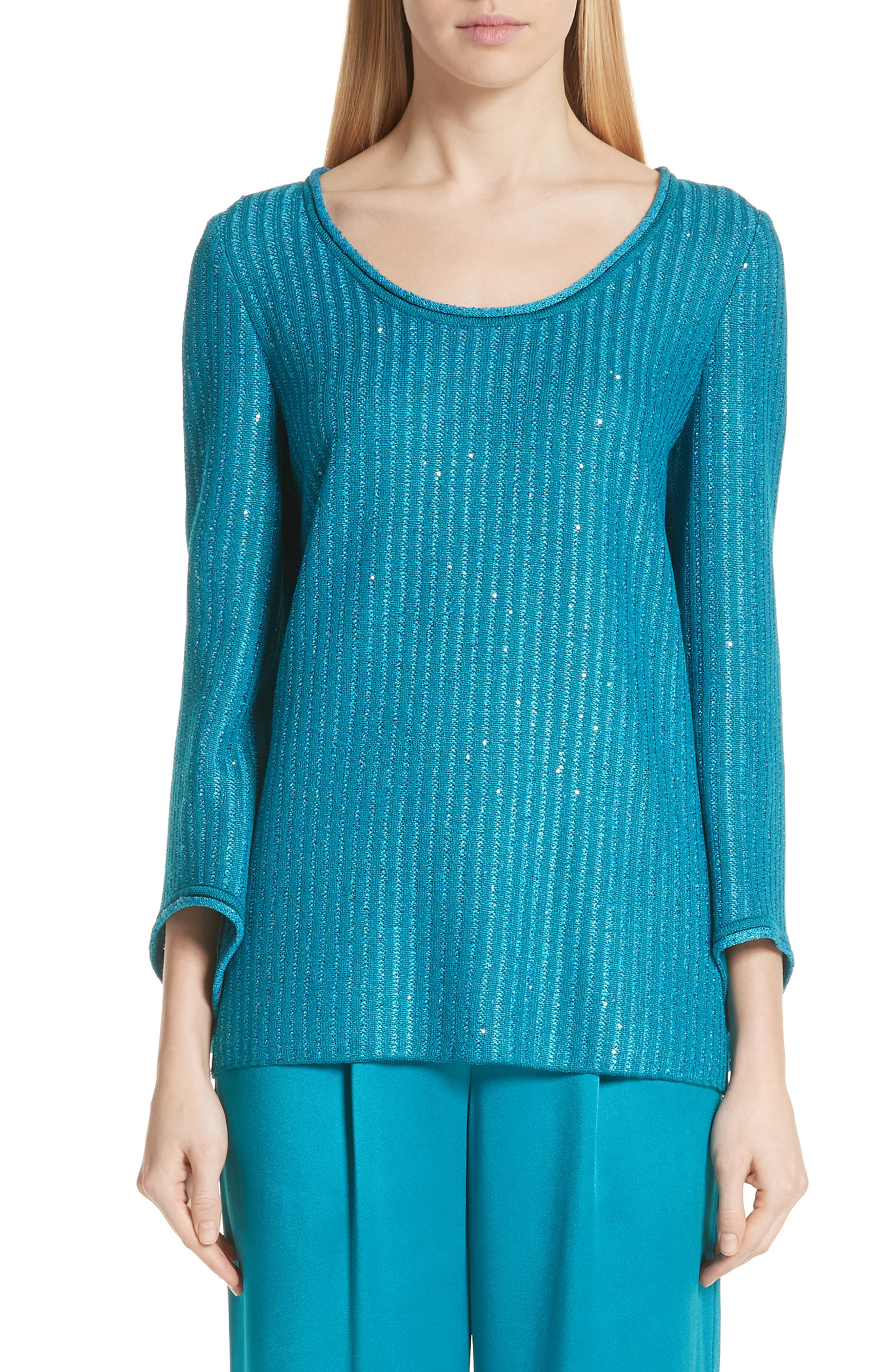 Sequin Rib Knit Sweater,                             Main thumbnail 1, color,                             CERULEAN