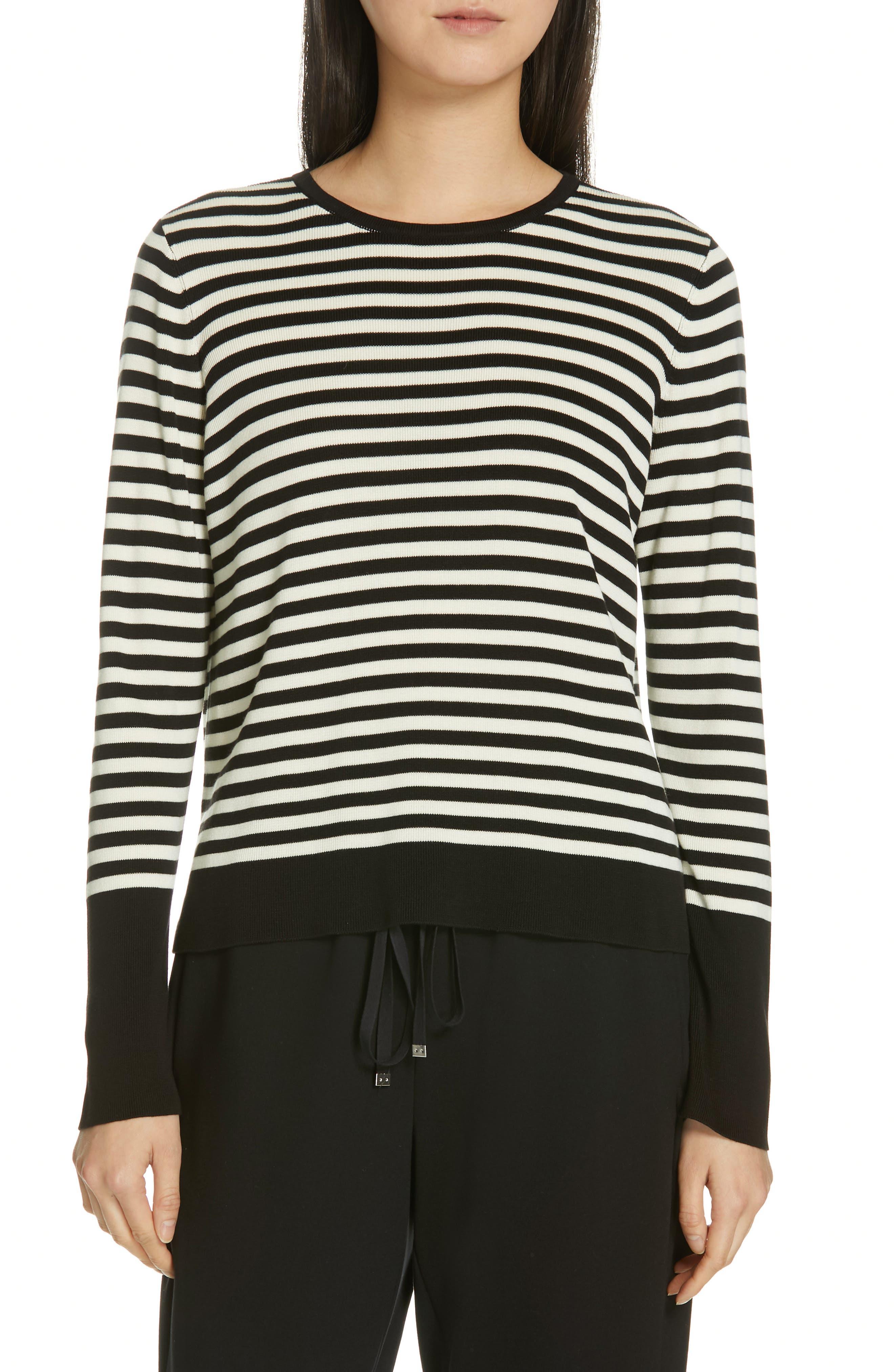 Tencel<sup>®</sup> Lyocell & Silk Sweater,                             Main thumbnail 1, color,                             BLACK/ SOFT WHITE