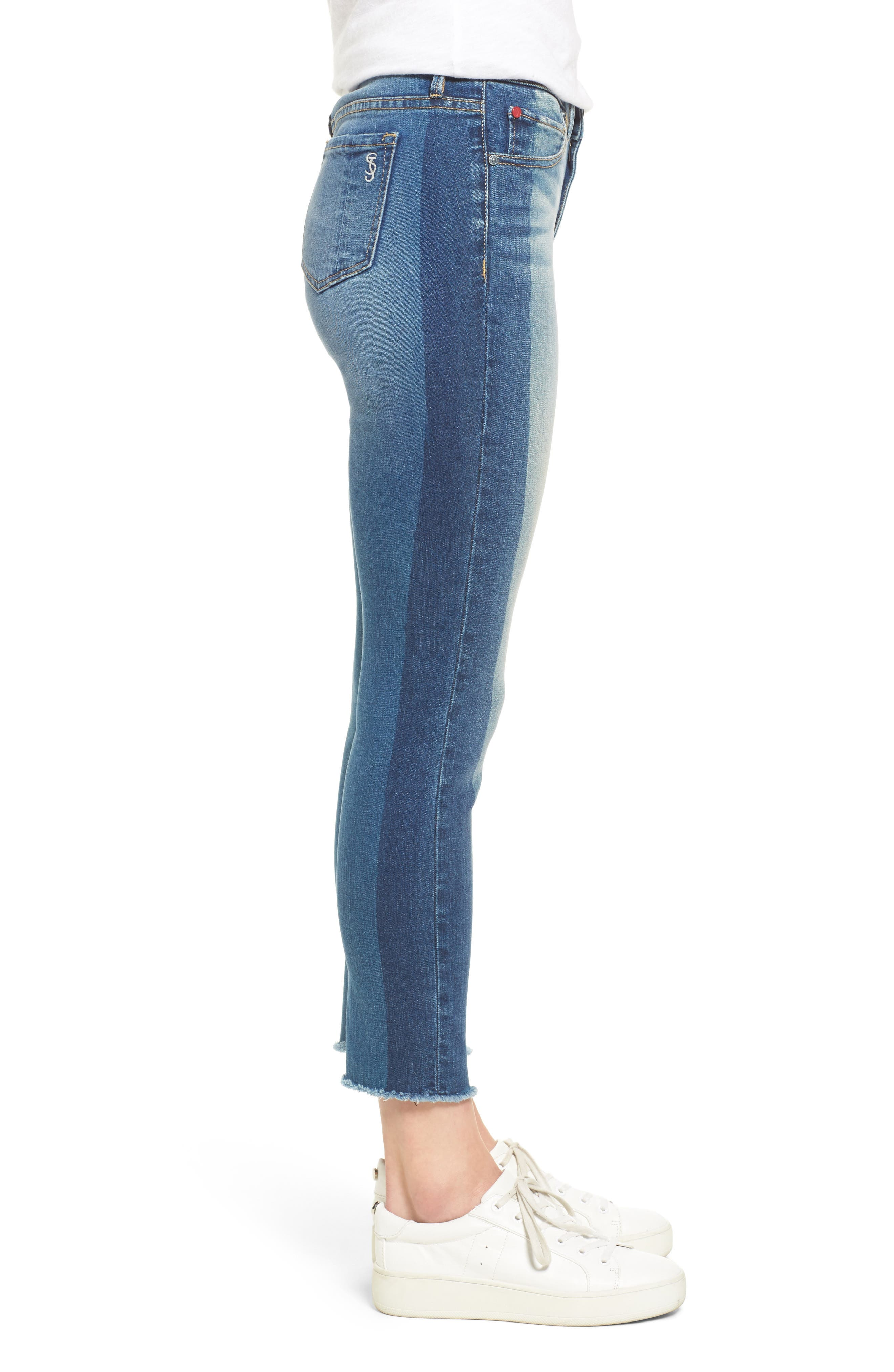 Frayed Hem Ankle Jeans,                             Alternate thumbnail 3, color,                             GWEN