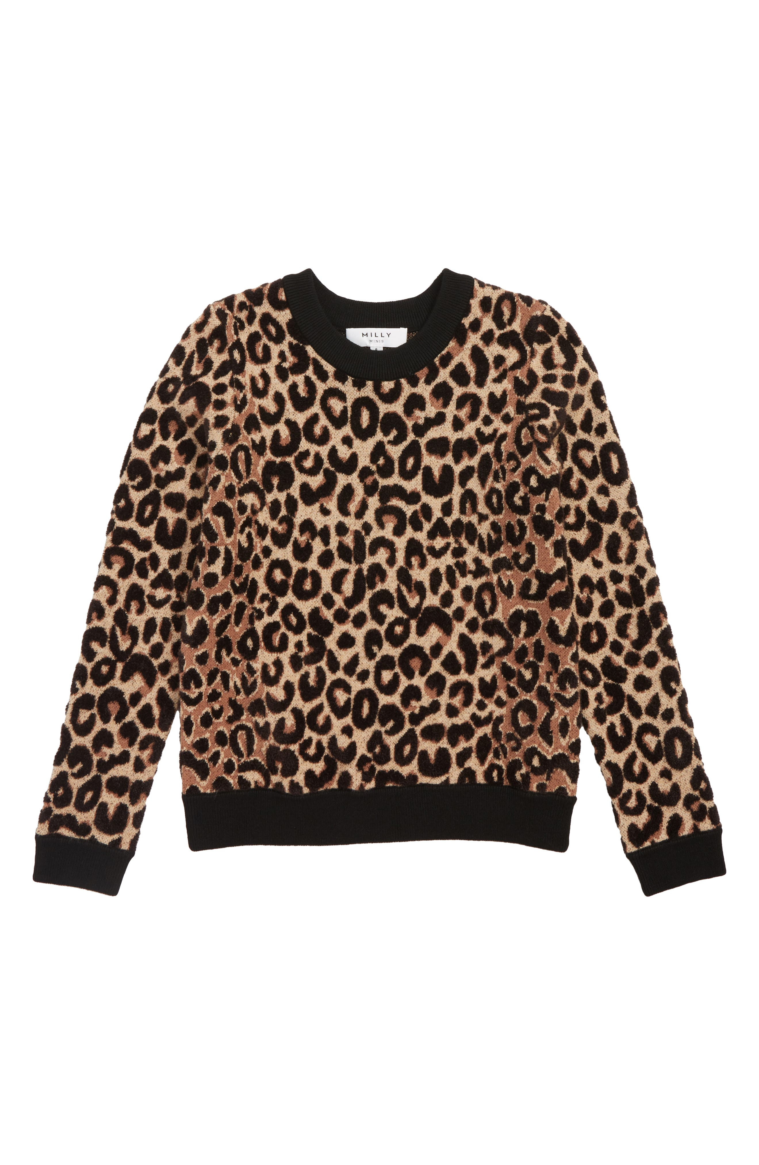 Girls Milly Minis Textured Leopard Sweater Size 14  Brown