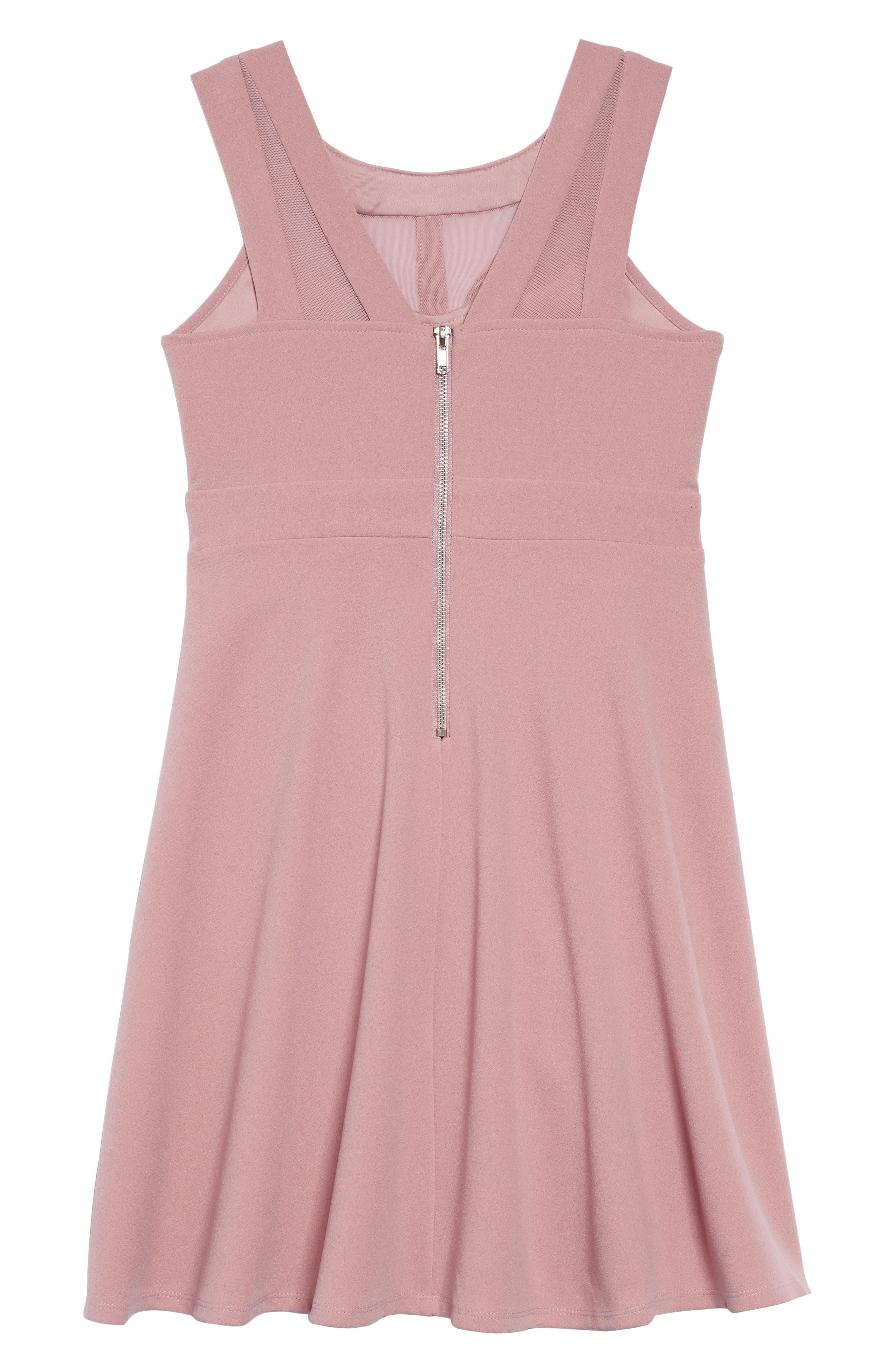 Mesh Cutout Fit & Flare Dress,                             Alternate thumbnail 2, color,                             ROSE