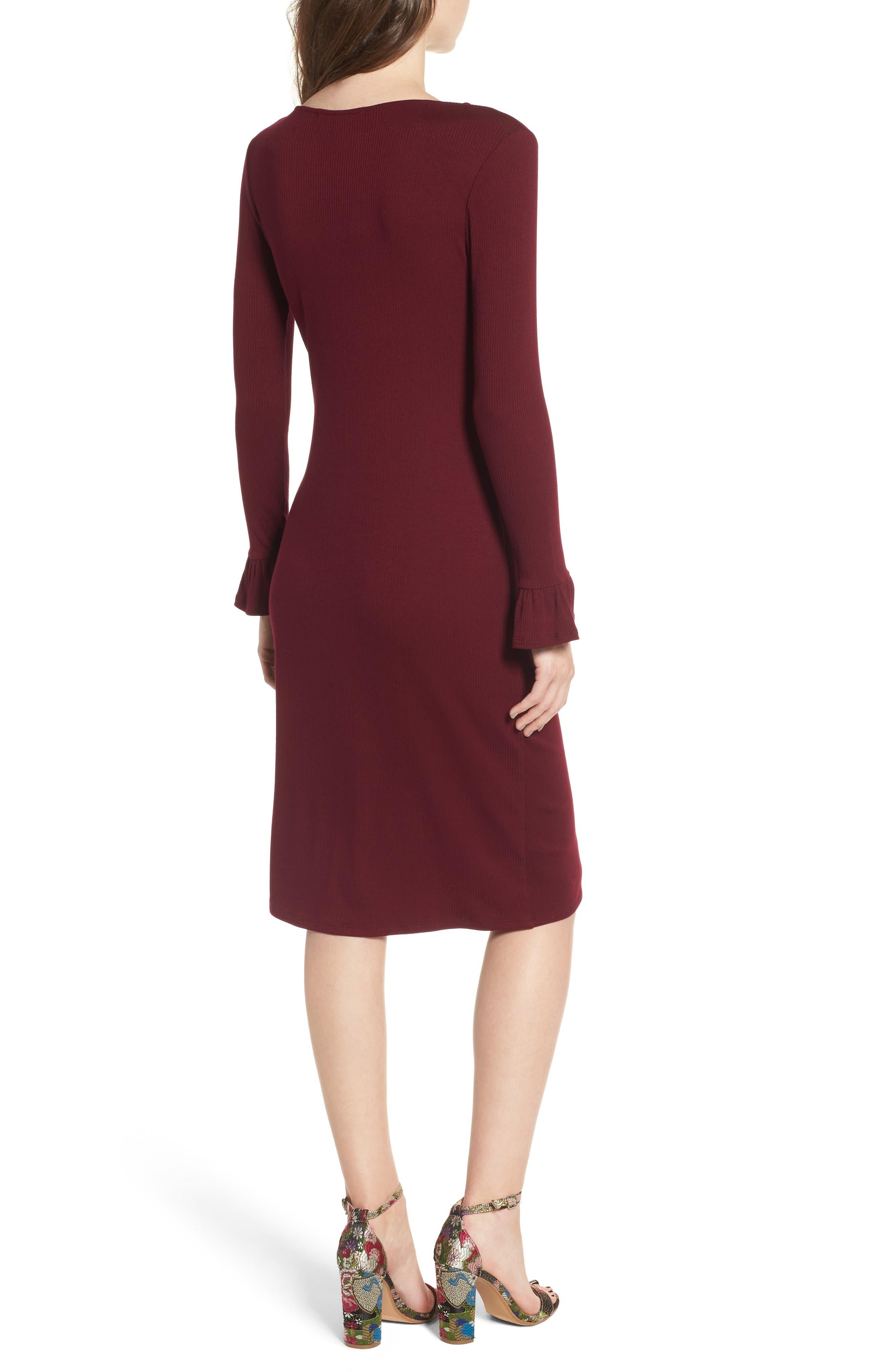 Ruffle Sleeve Ribbed Midi Dress,                             Alternate thumbnail 4, color,