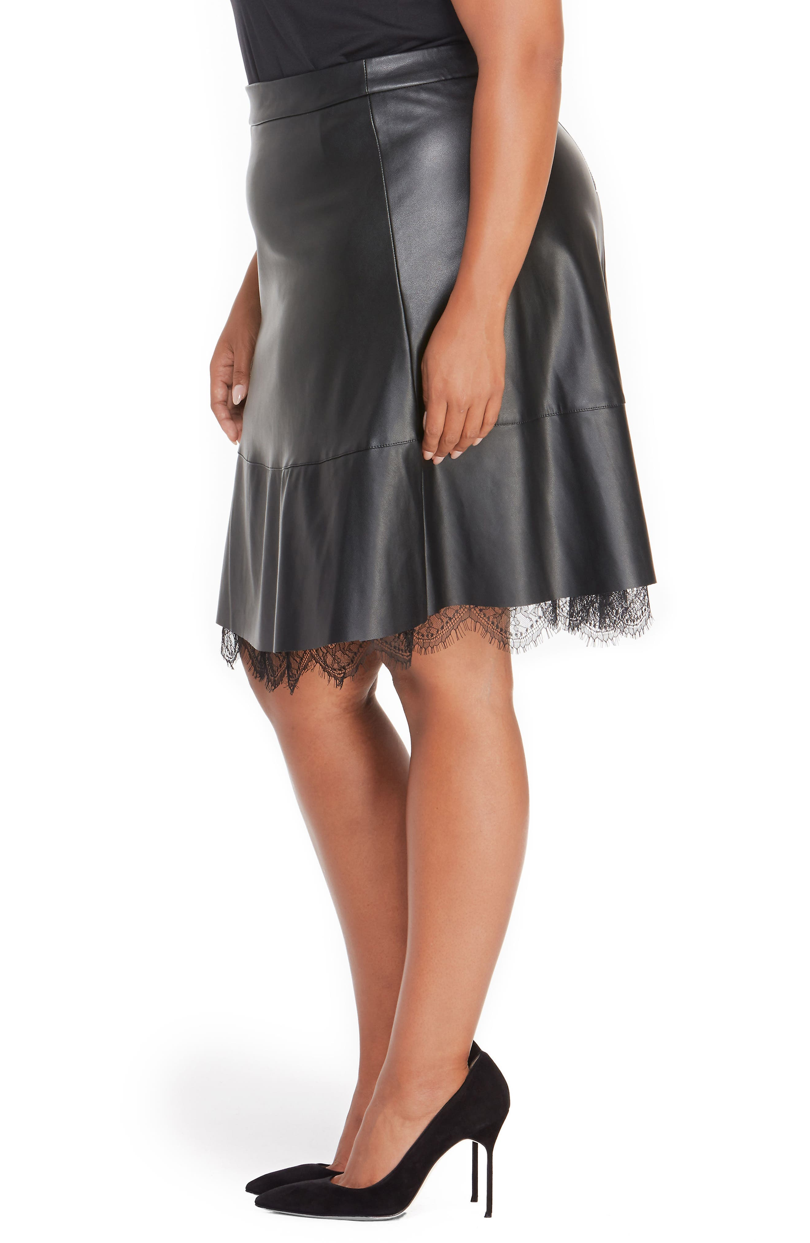 Faux Leather Pleated Skirt with Lace,                             Alternate thumbnail 3, color,                             001