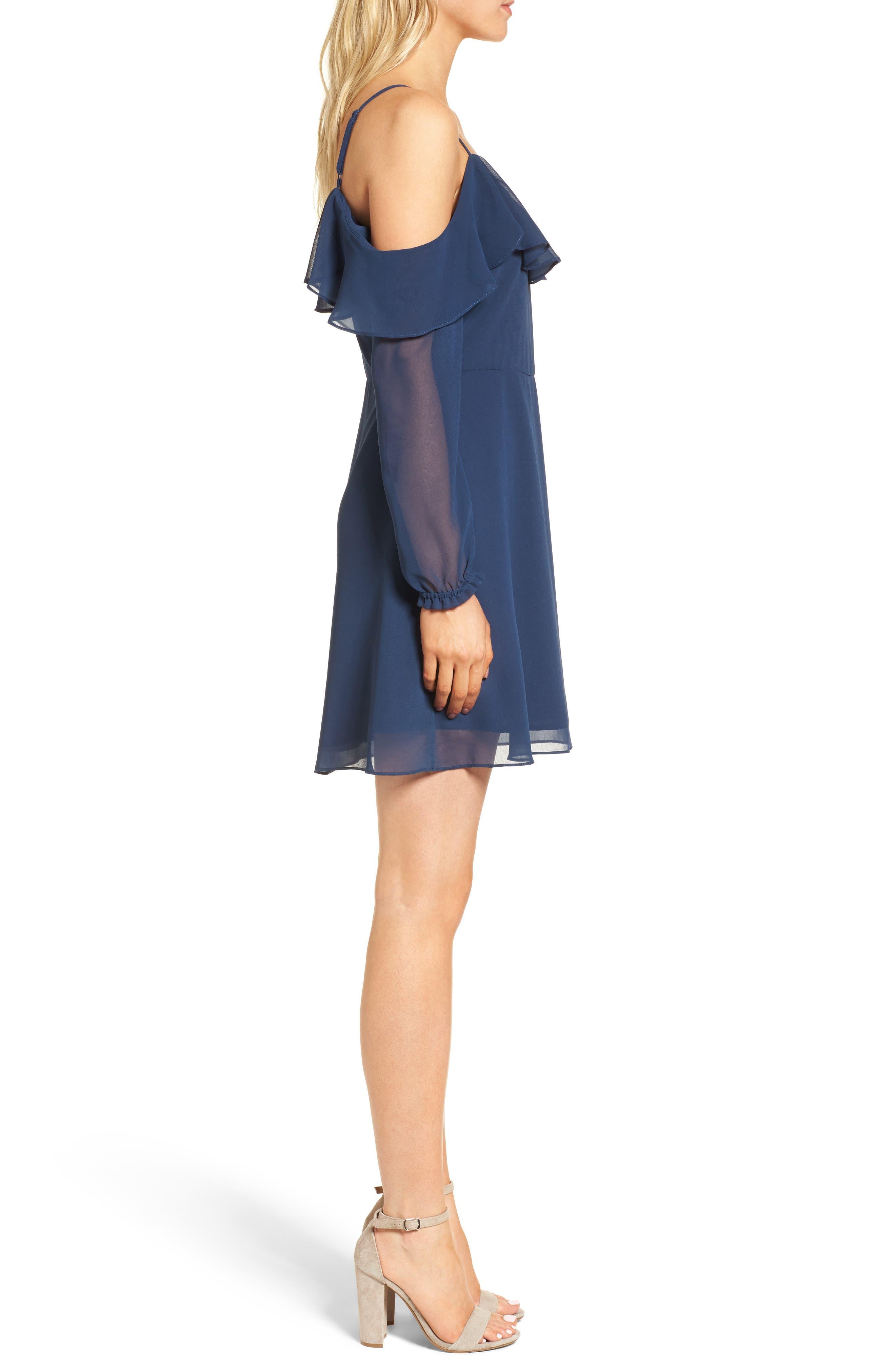 Sundra Cold Shoulder Dress,                             Alternate thumbnail 3, color,                             400