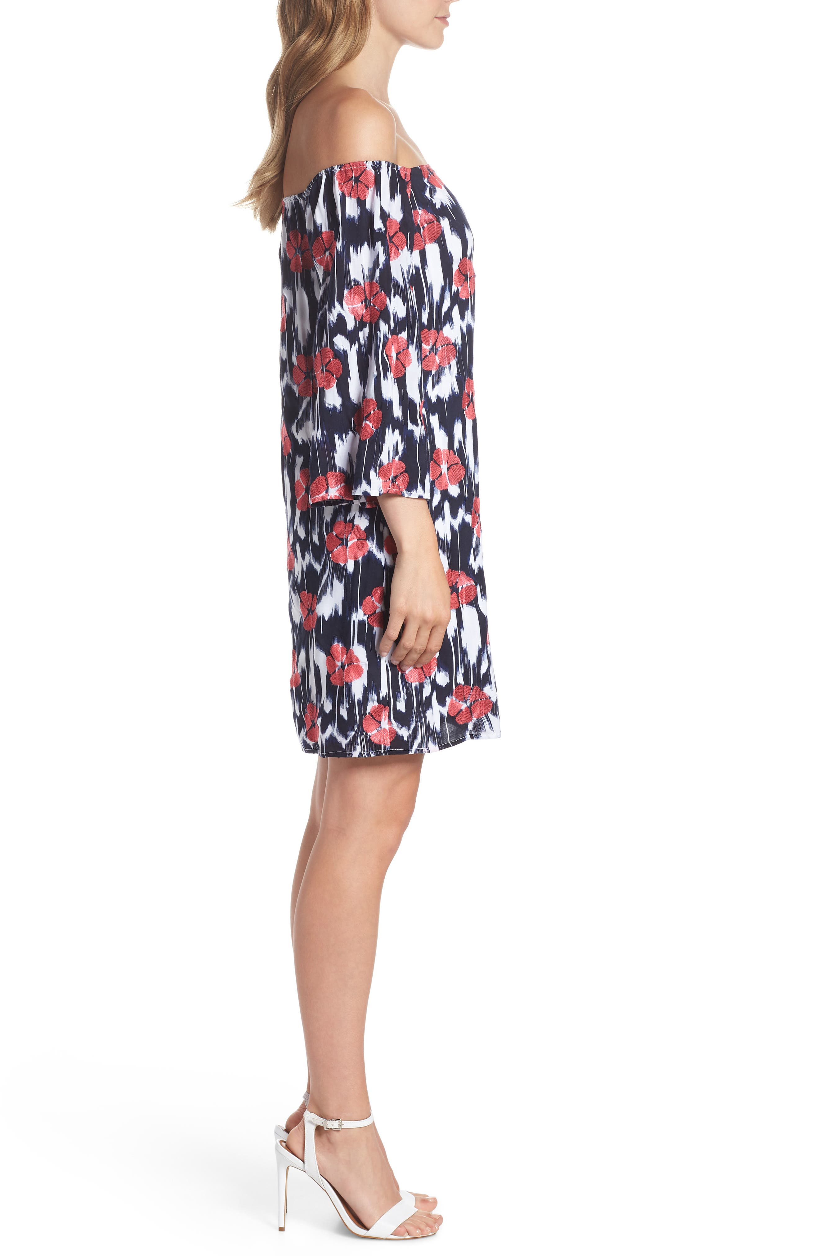 TRINA TRINA TURK,                             Kenwood Off the Shoulder Shift Dress,                             Alternate thumbnail 3, color,                             460