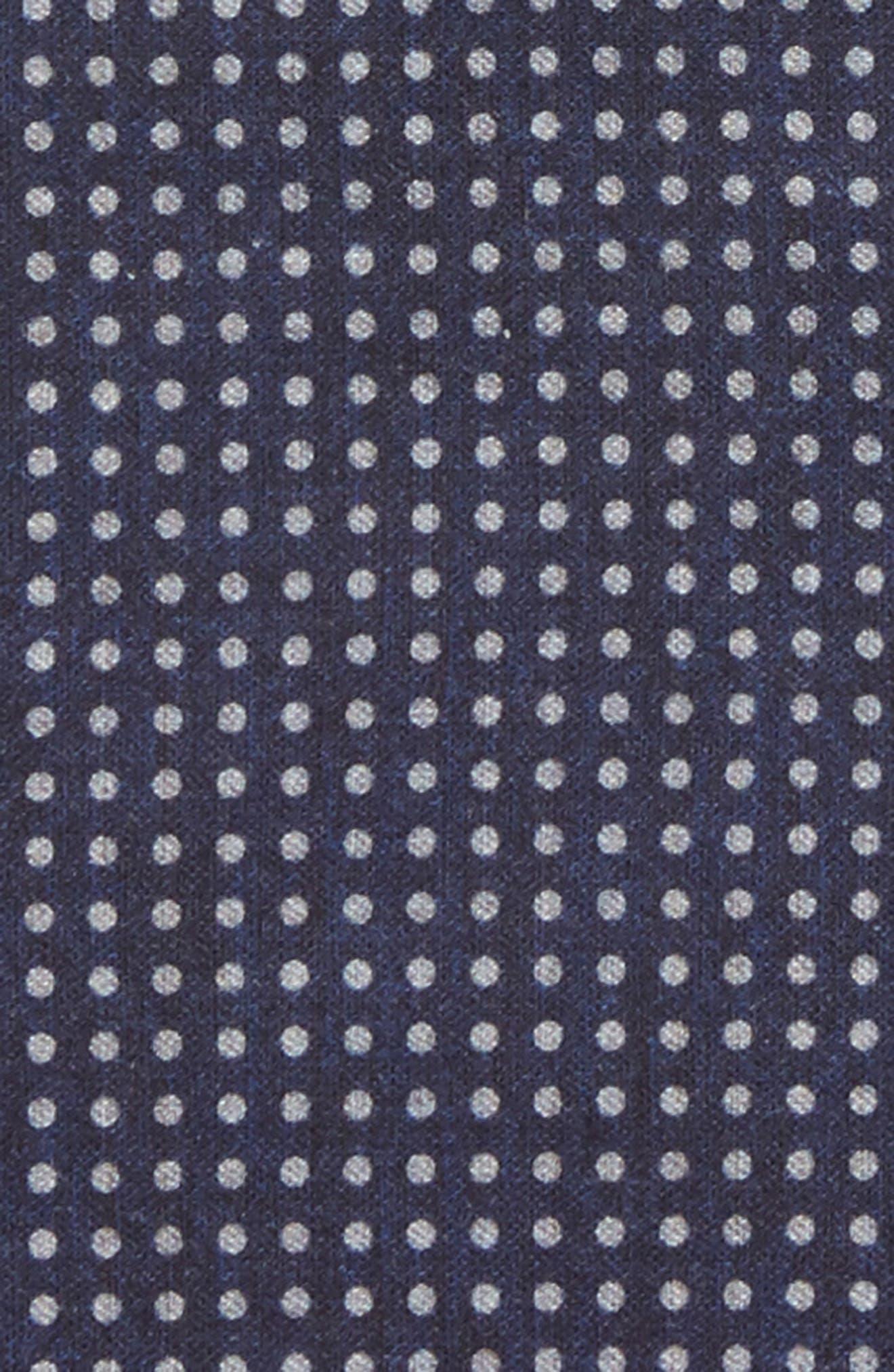 Dot Wool & Cotton Pocket Square,                             Alternate thumbnail 3, color,                             NAVY