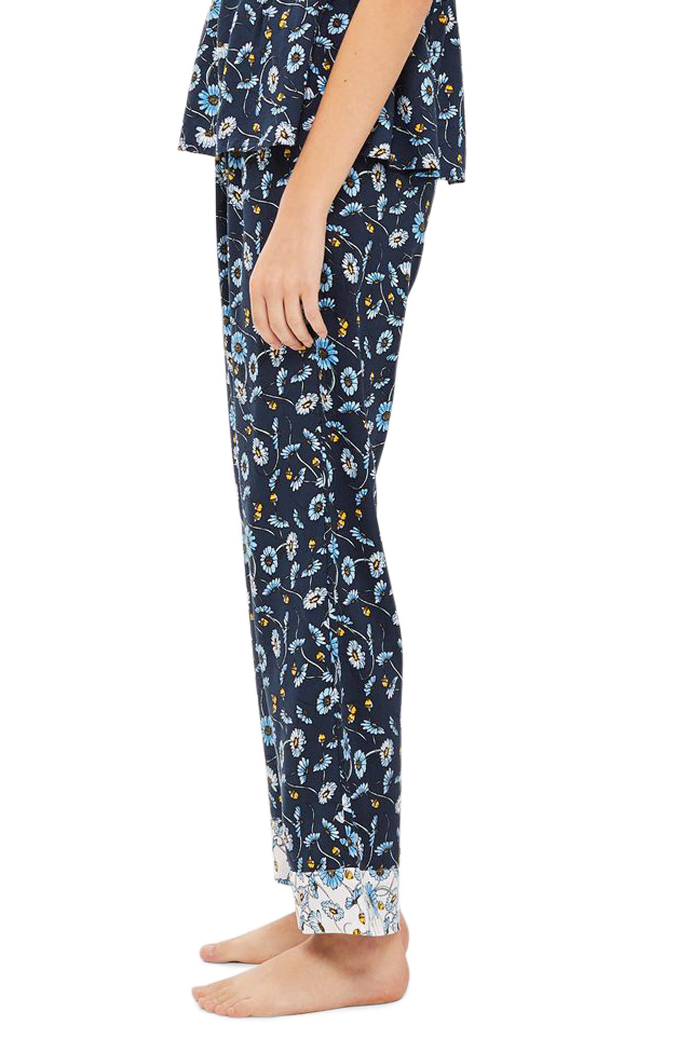 Floral Sleep Trouser Pajama Pants,                             Alternate thumbnail 3, color,                             NAVY MULTI