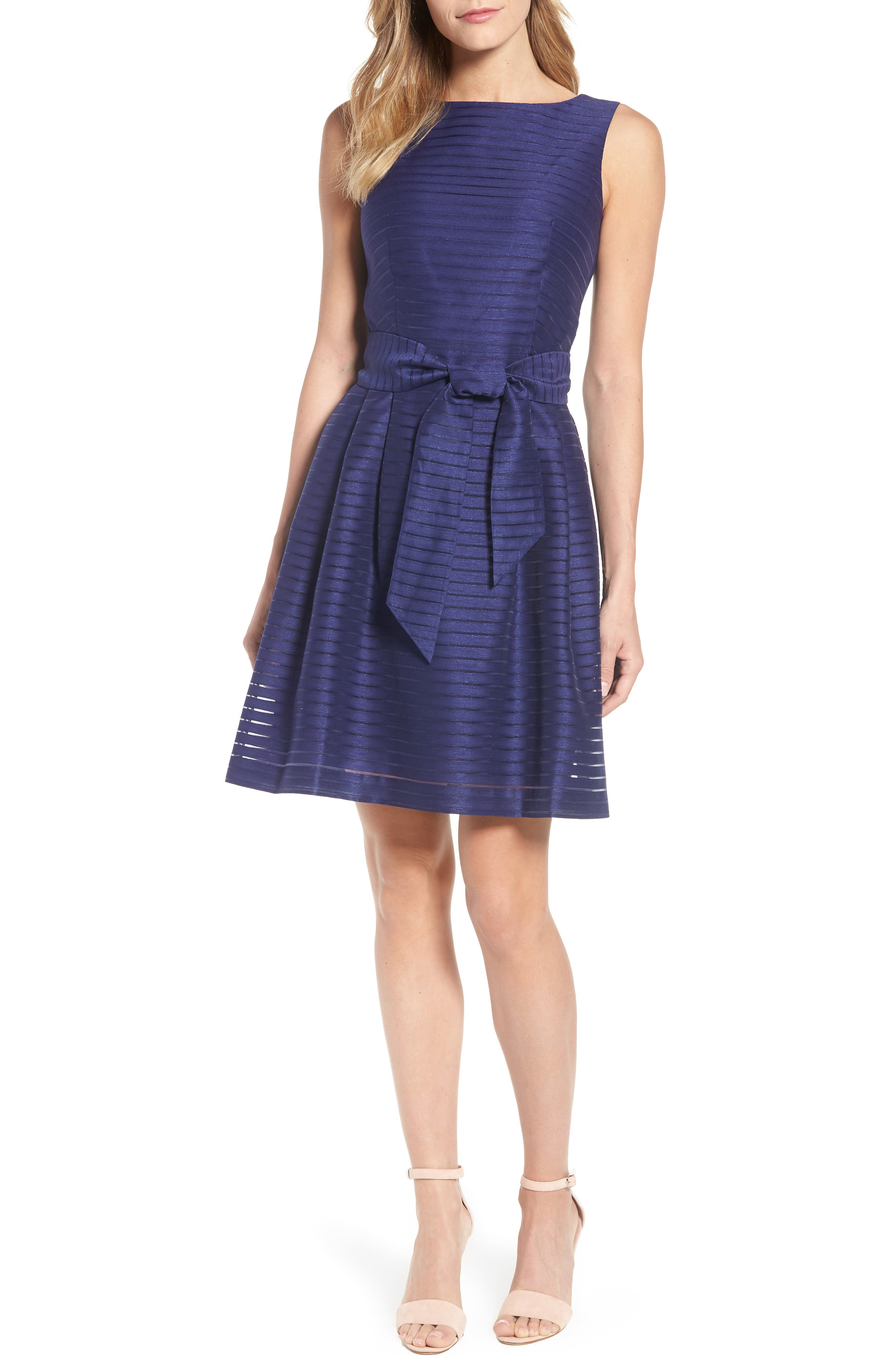 Shadow Stripe Fit & Flare Dress,                             Main thumbnail 2, color,