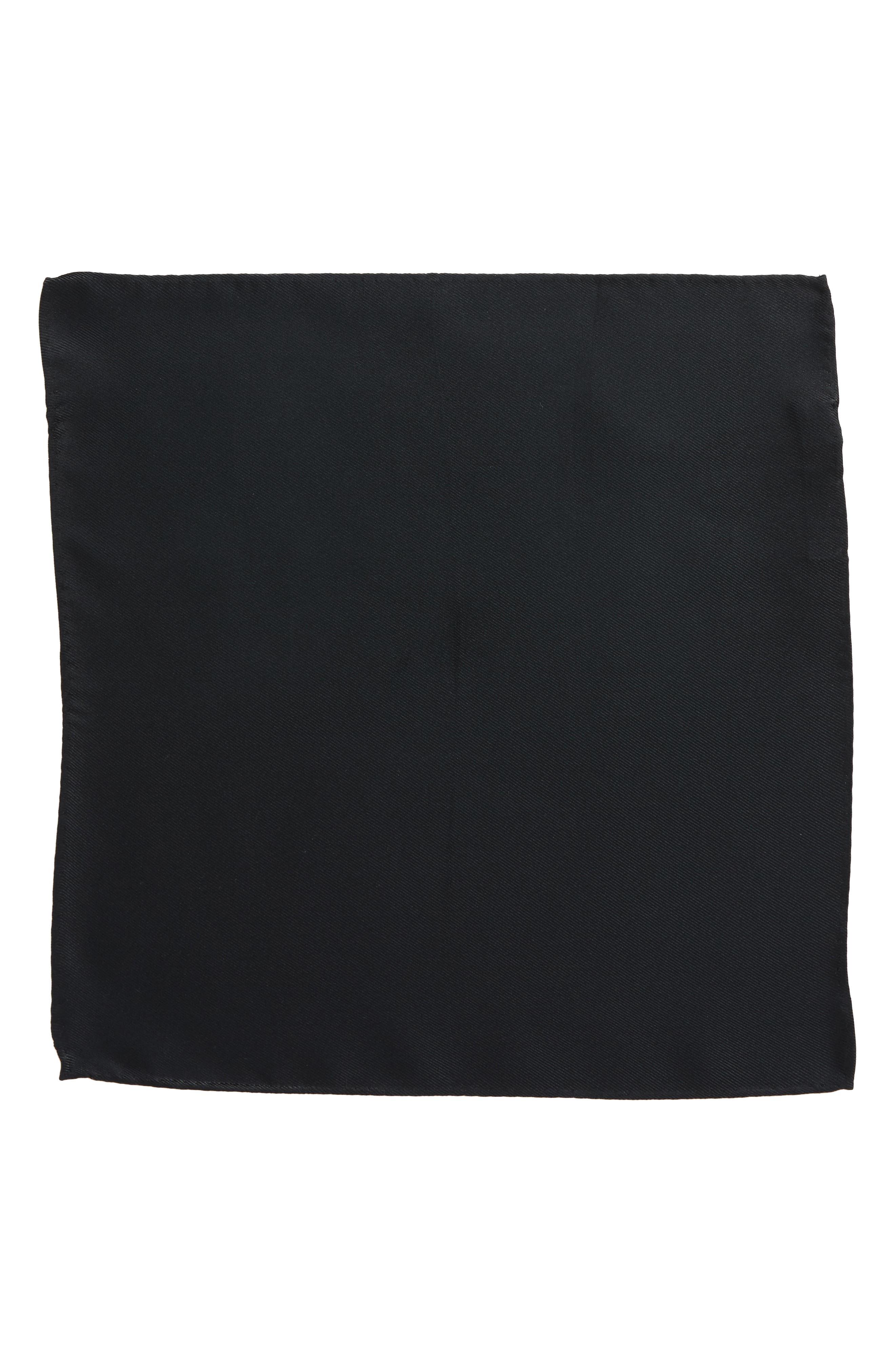 King Twill Silk Pocket Square,                             Alternate thumbnail 2, color,                             BLACK