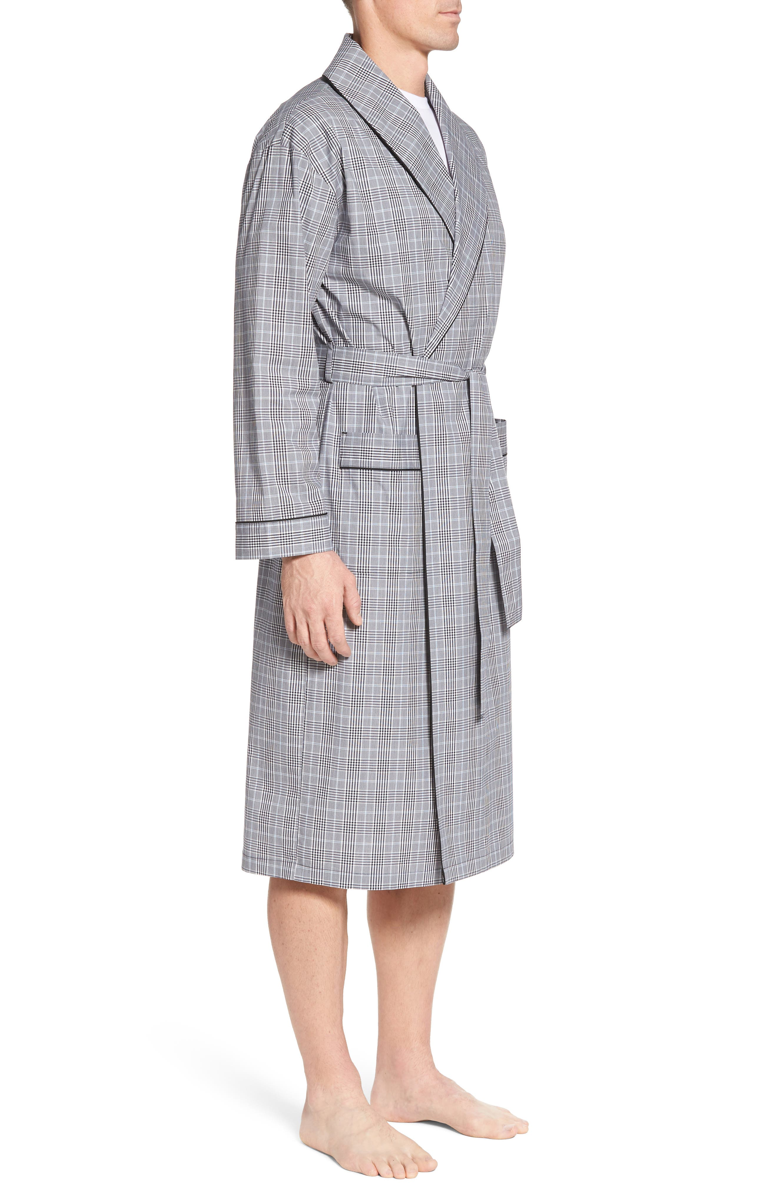 Charleston Robe,                             Alternate thumbnail 3, color,                             BLACK PLAID