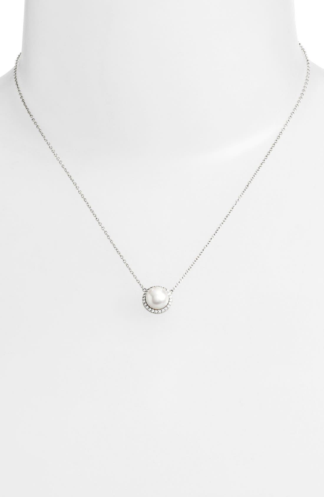 'Lassaire' Pearl Pendant Necklace,                             Alternate thumbnail 2, color,                             SILVER/ CLEAR